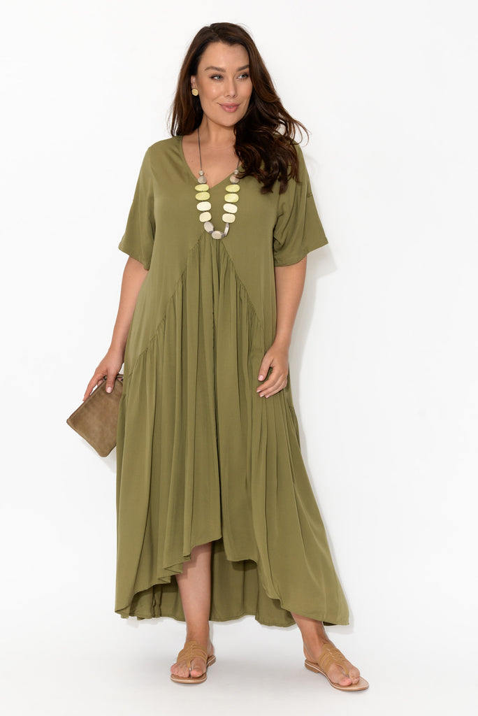 Khaki Peak Maxi Dress