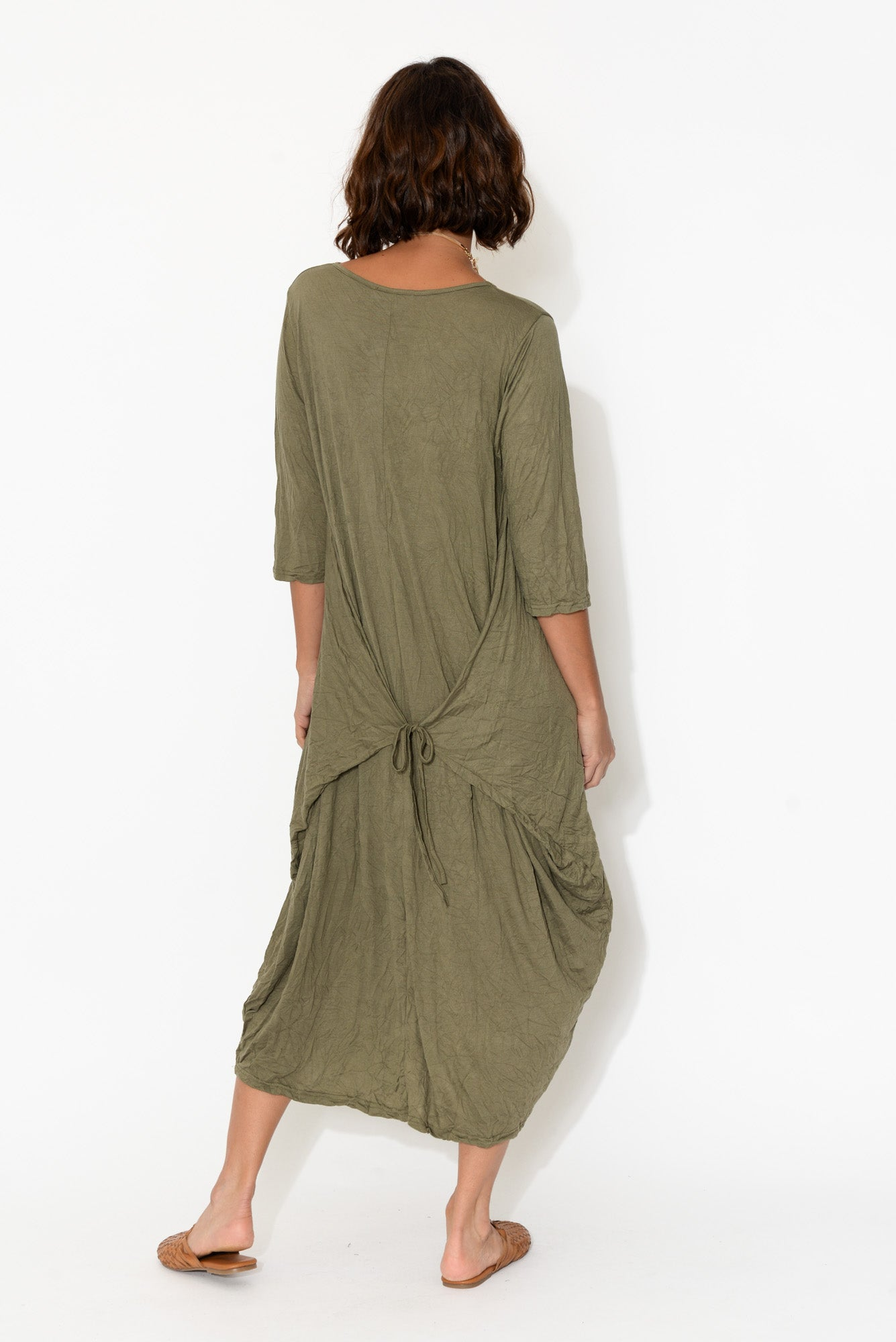 Olive Five Way Crinkle Cotton Dress