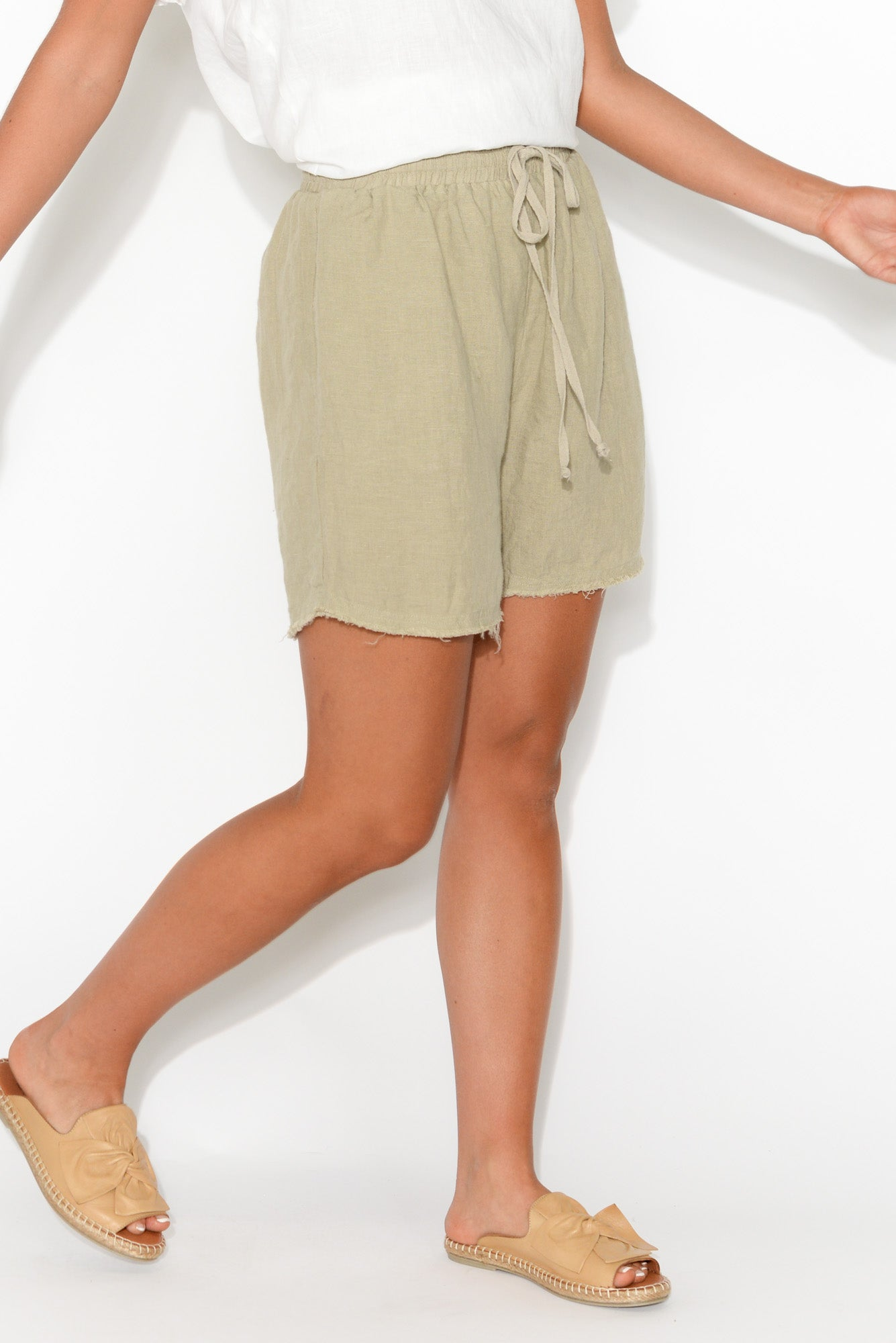 Khari Natural Linen Shorts