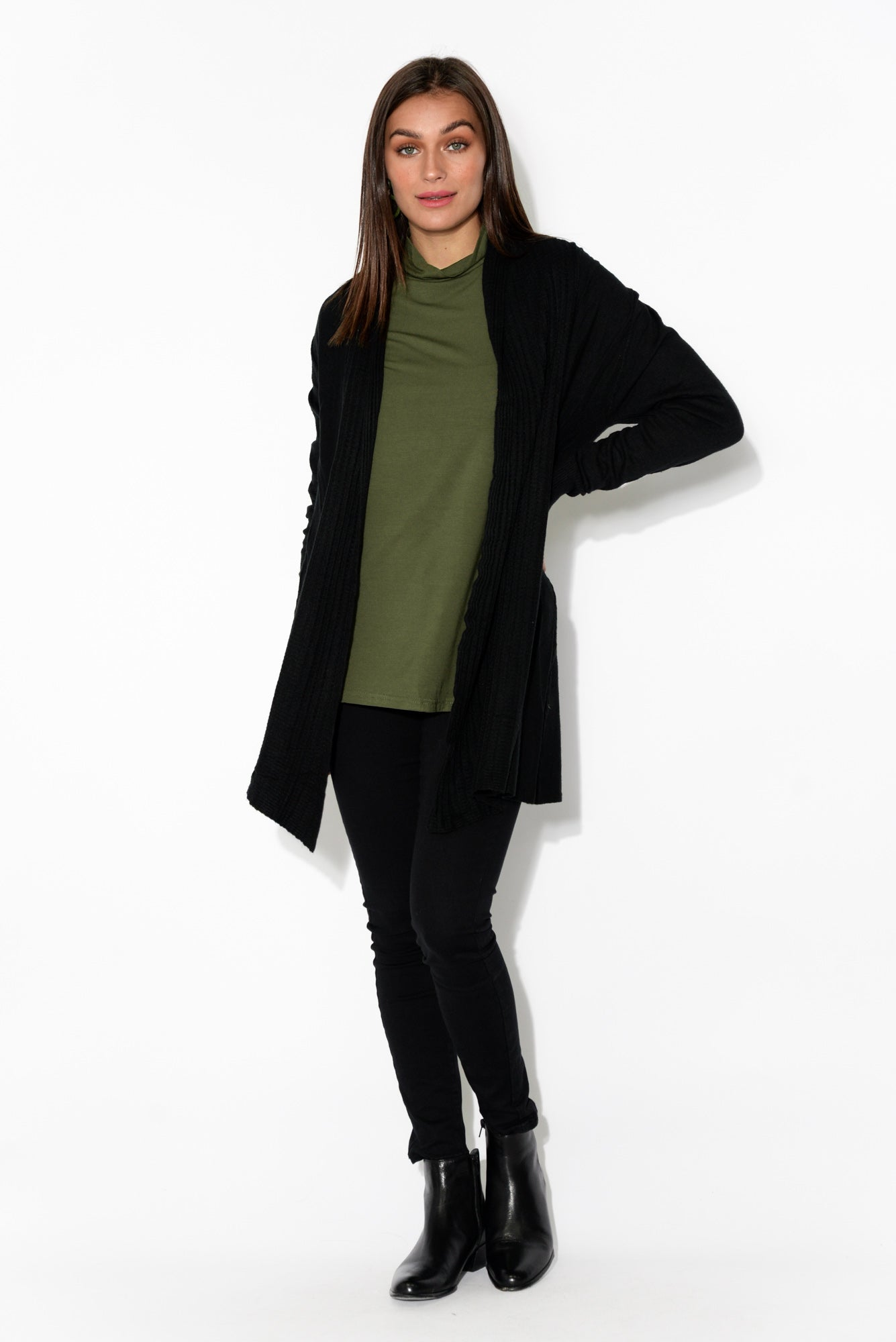Kira Khaki Bamboo Turtleneck Top