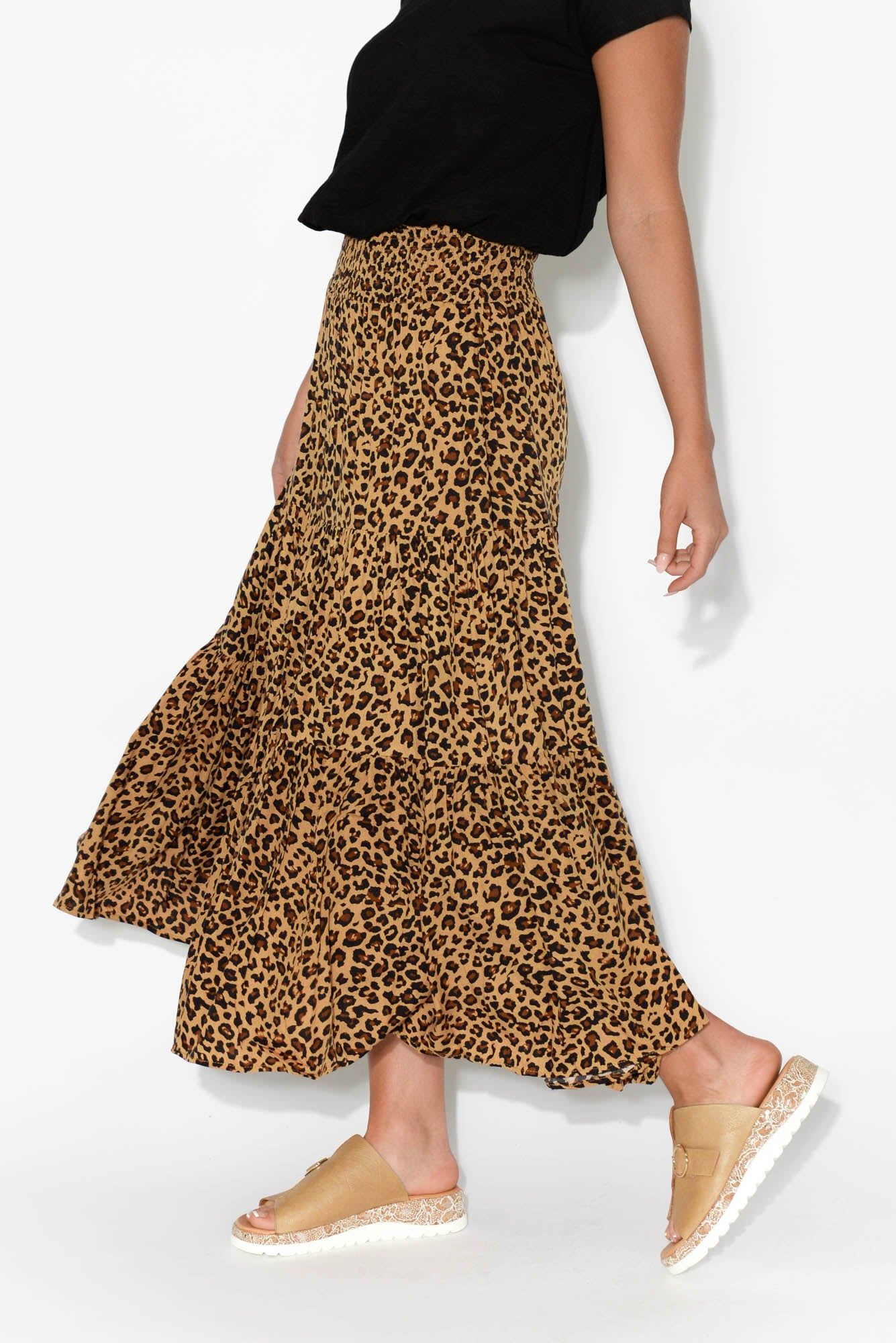Kori Leopard Tiered Skirt