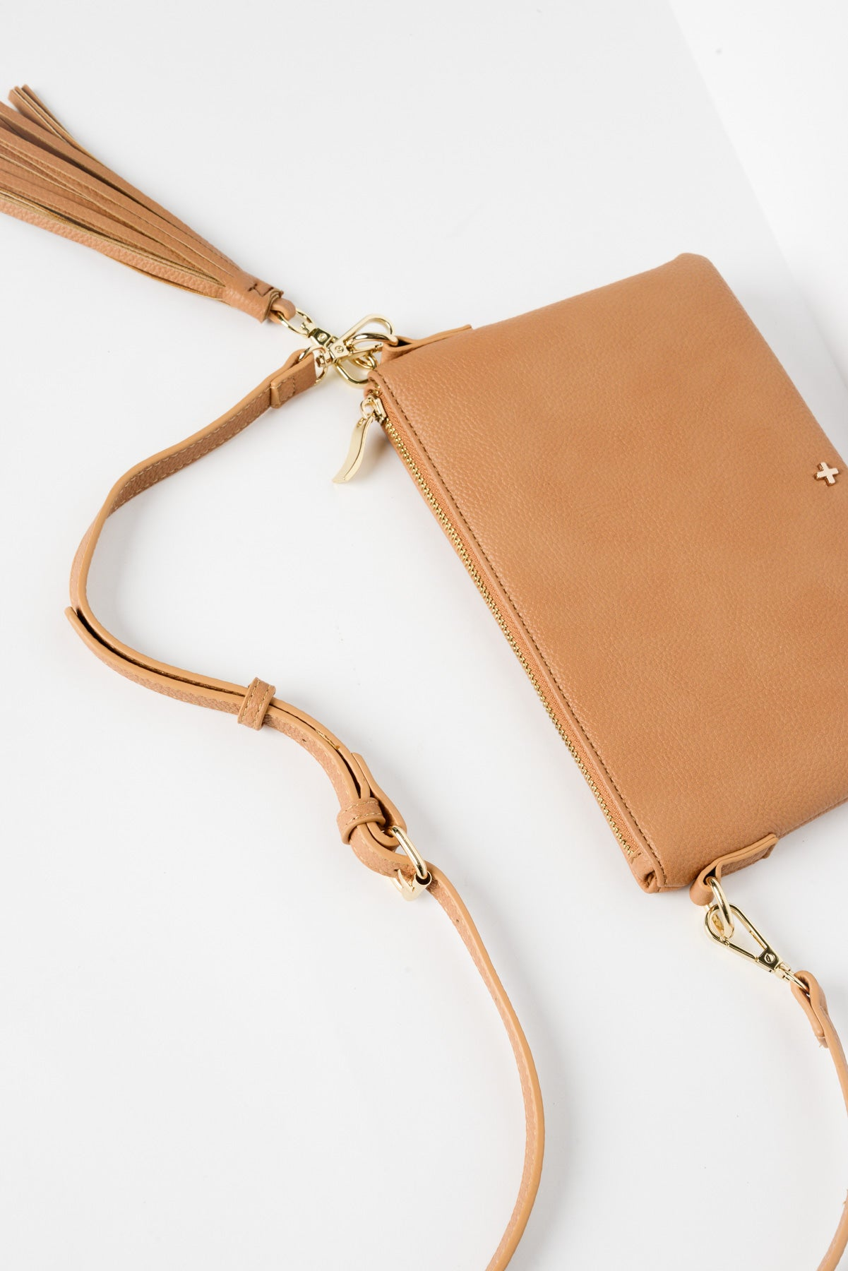 Kourtney Caramel Vegan Leather Clutch - Blue Bungalow