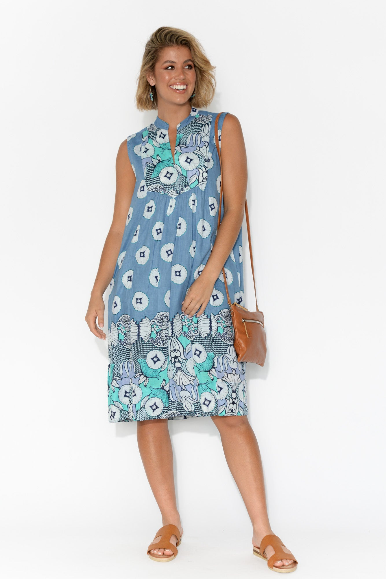 Kuranda Blue Lotus Cotton Dress