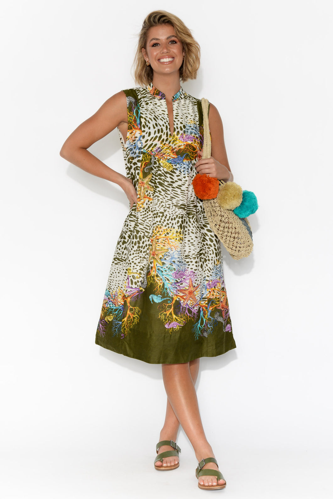 Kuranda Olive Abstract Leopard Cotton Dress