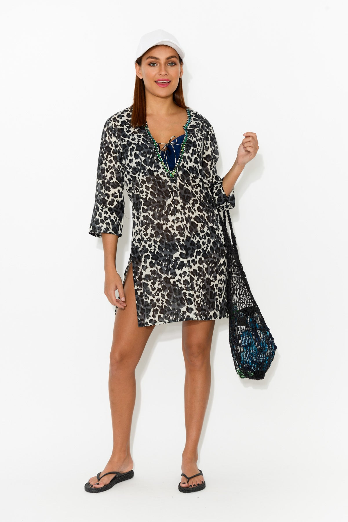 Kurta Grey Leopard Cotton Tunic - Blue Bungalow