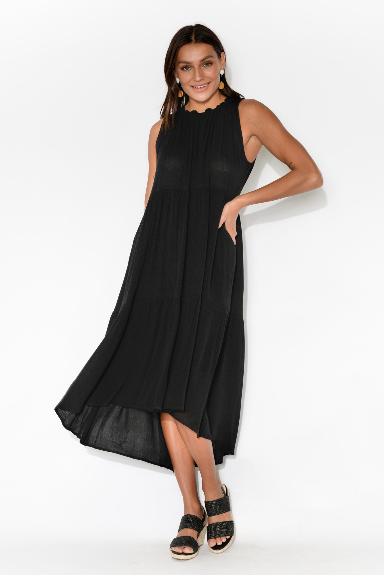 Kyran Black Ruffle Sleeveless Dress