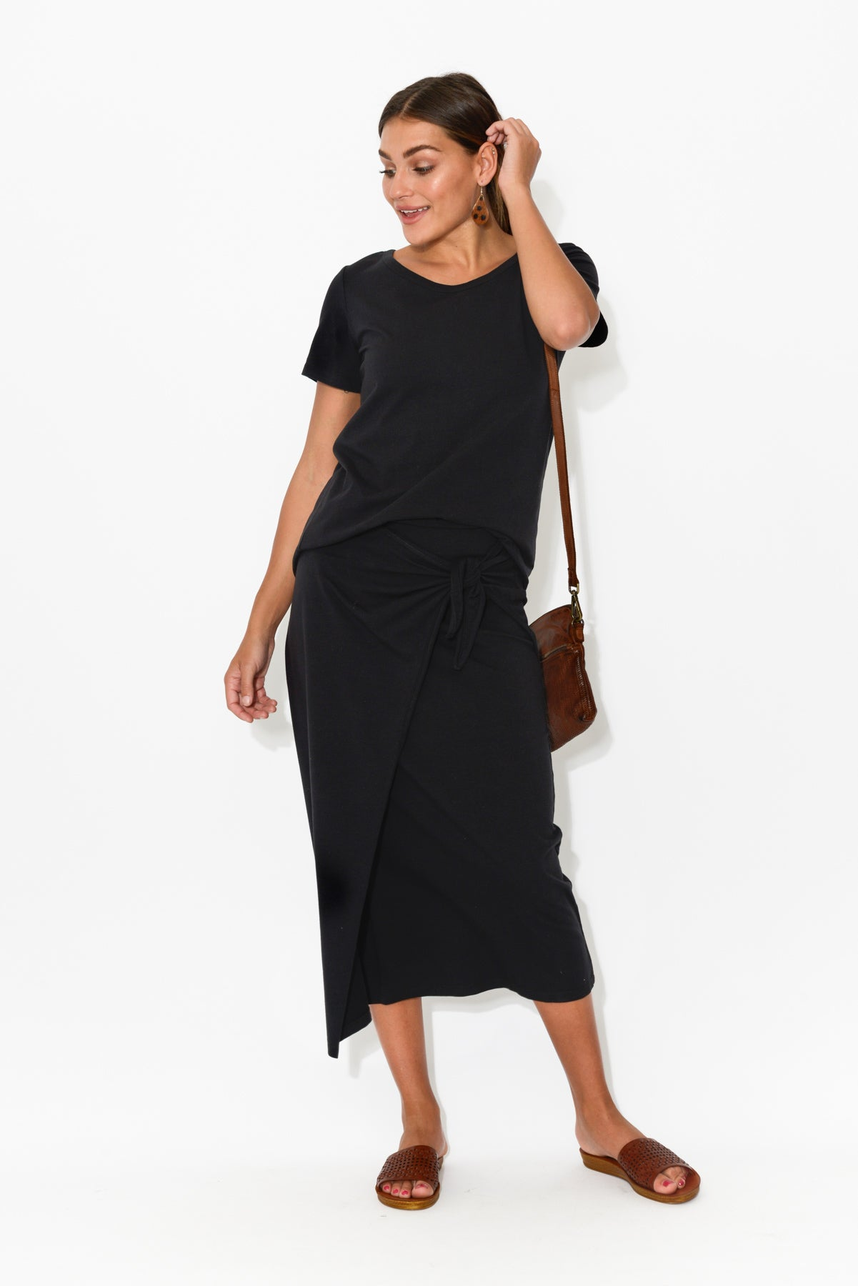 Lana Black Midi Skirt - Blue Bungalow