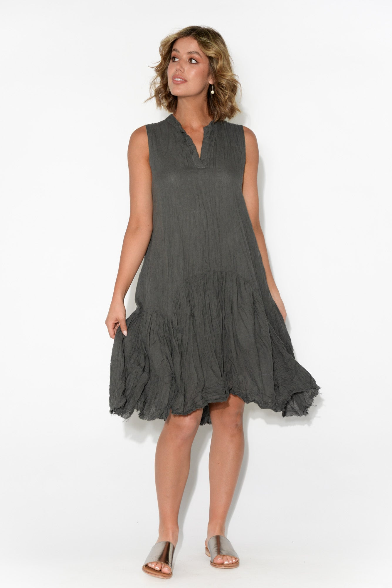 Laney Charcoal Sleeveless Crinkle Cotton Dress