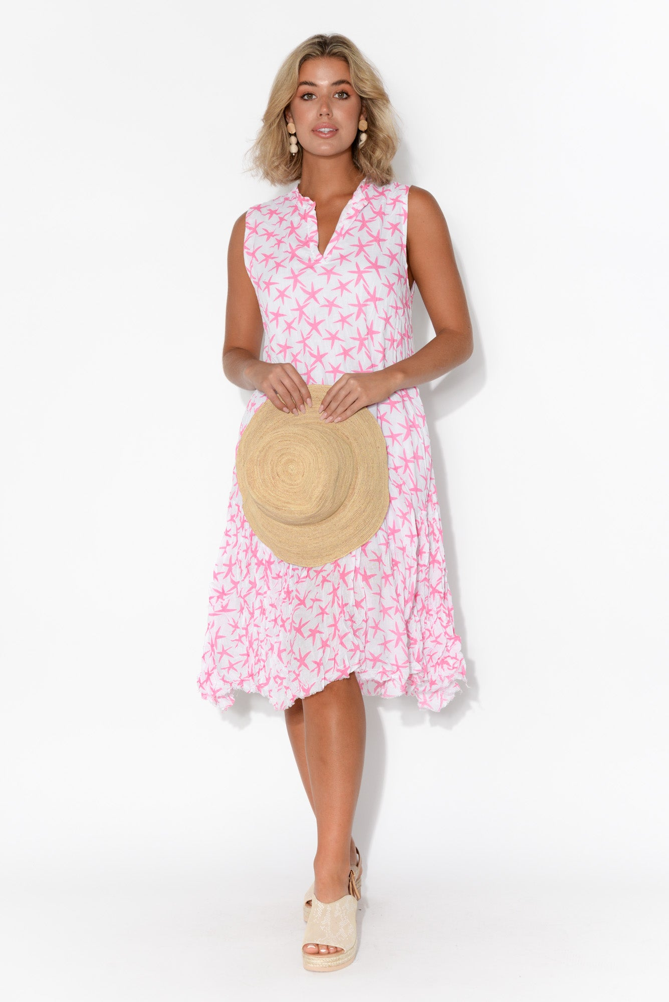 Laney Pink Star Sleeveless Crinkle Cotton Dress