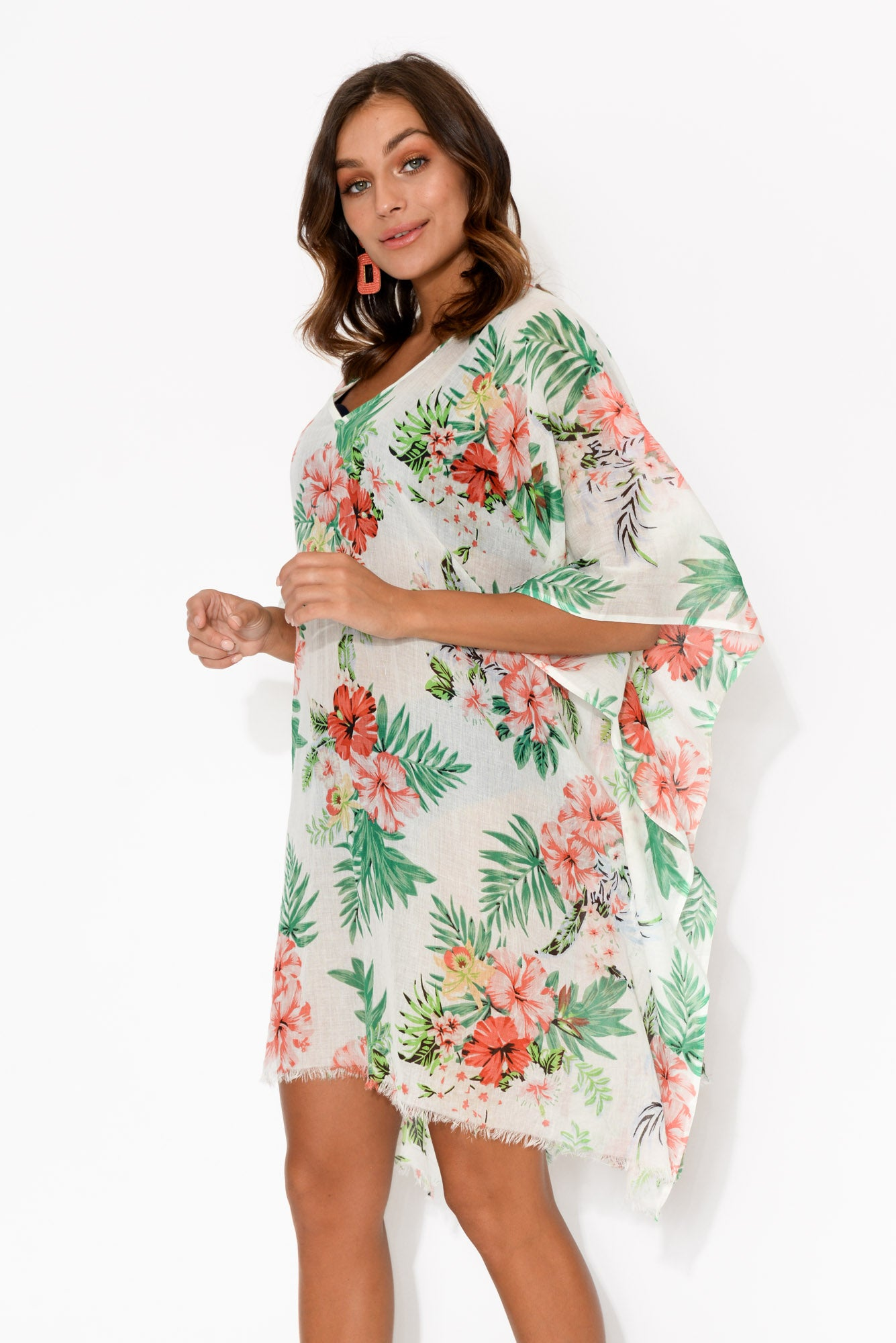 Lavinia White Tropical Kaftan
