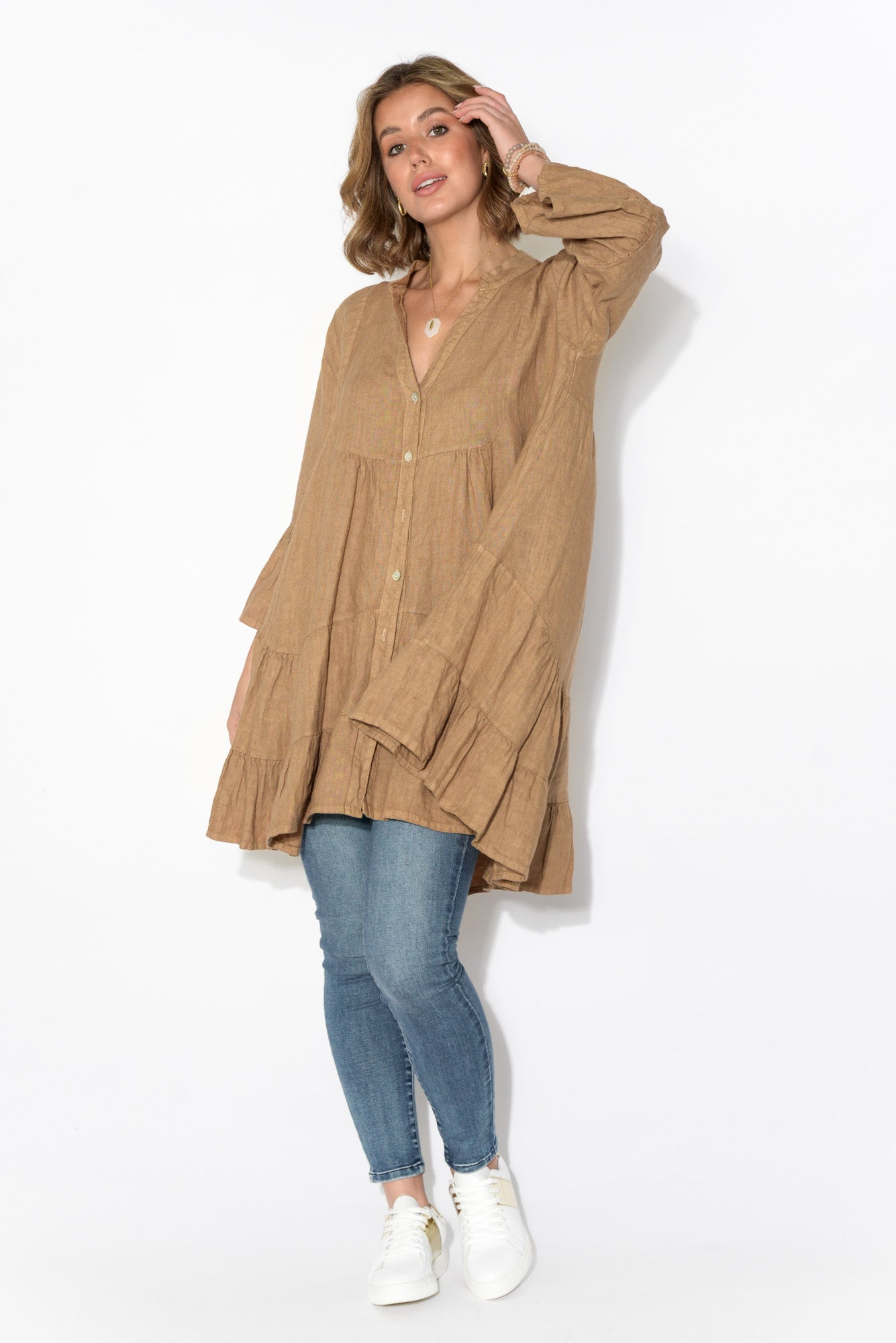 Layla Camel Linen Button Front Top