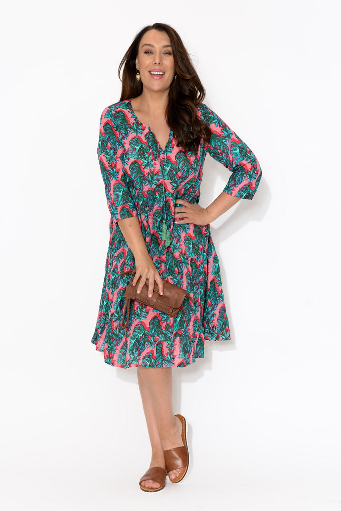 Layla Pink Palm Crinkle Cotton Dress