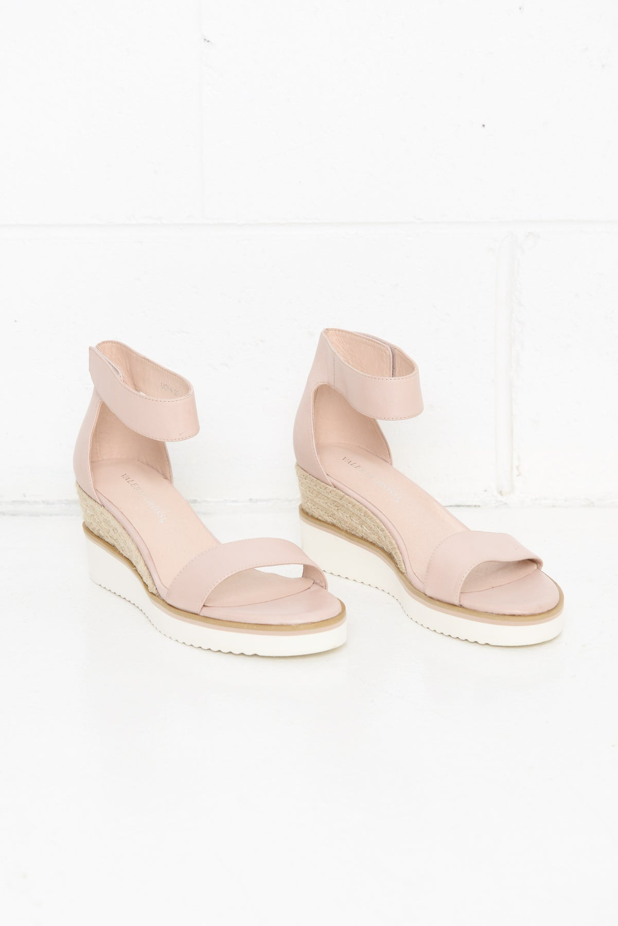 Lazy Nude Leather Wedge Sandal