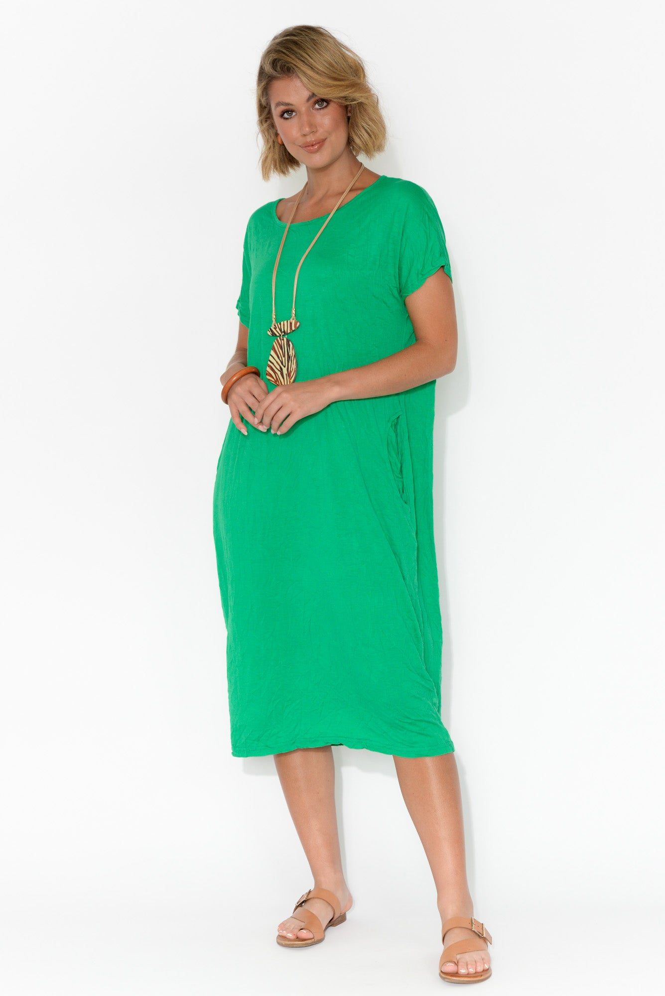 Leah Green Crinkle Cotton Dress