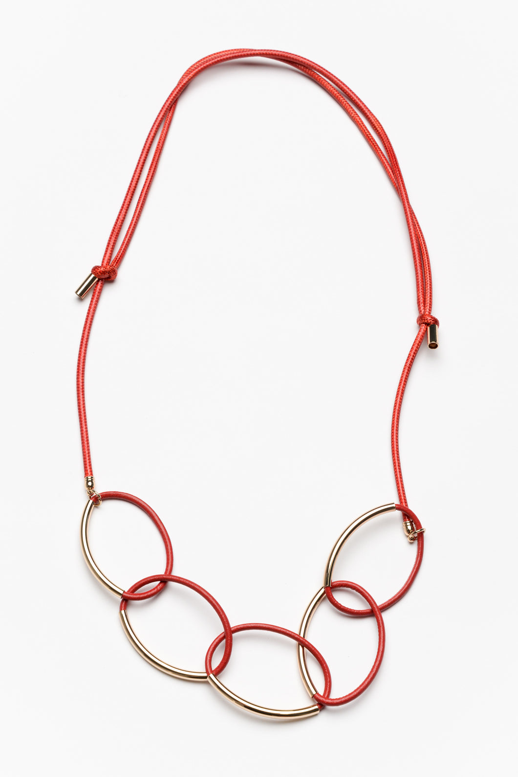 Estella Red Oval Link Necklace