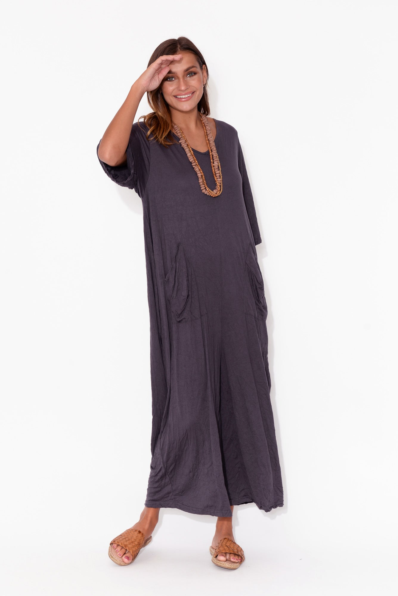 Leighton Eggplant Crinkle Cotton Jumpsuit