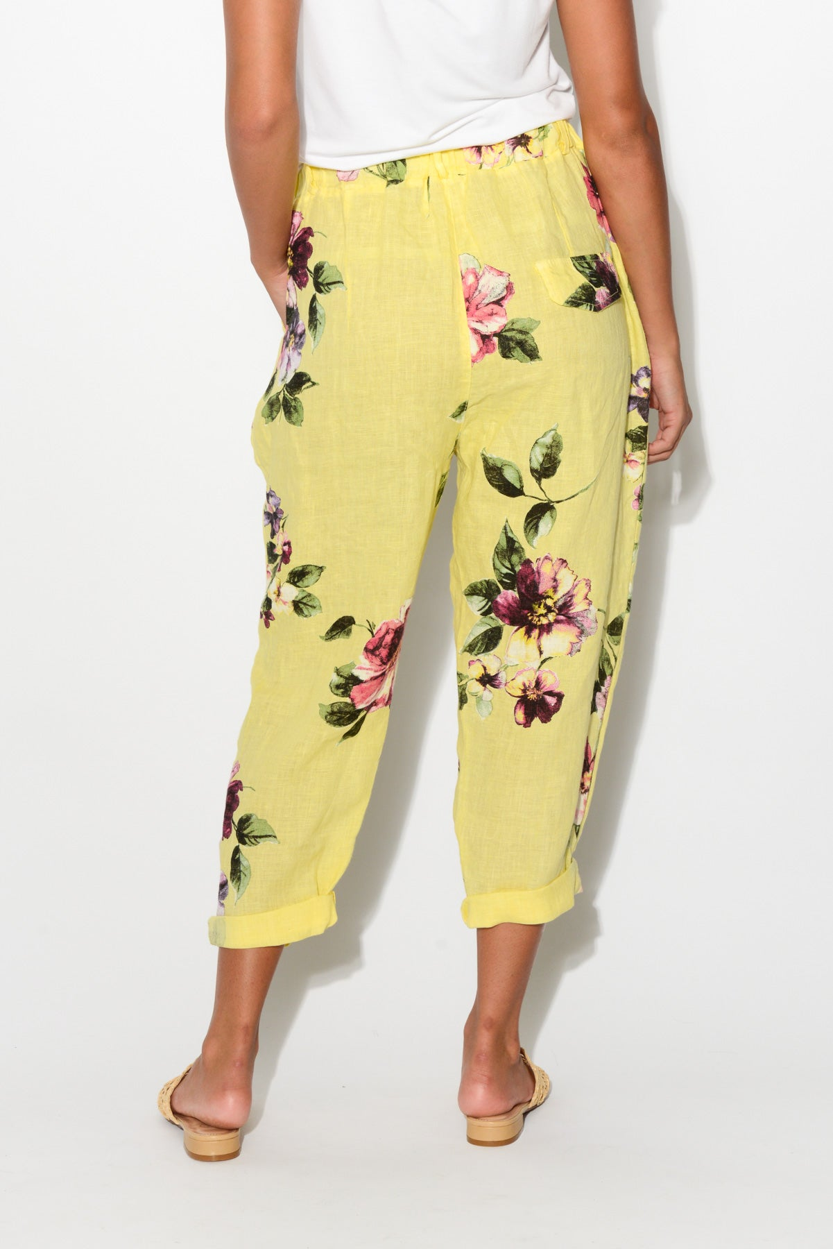 Lemon Floral Linen Pant - Blue Bungalow