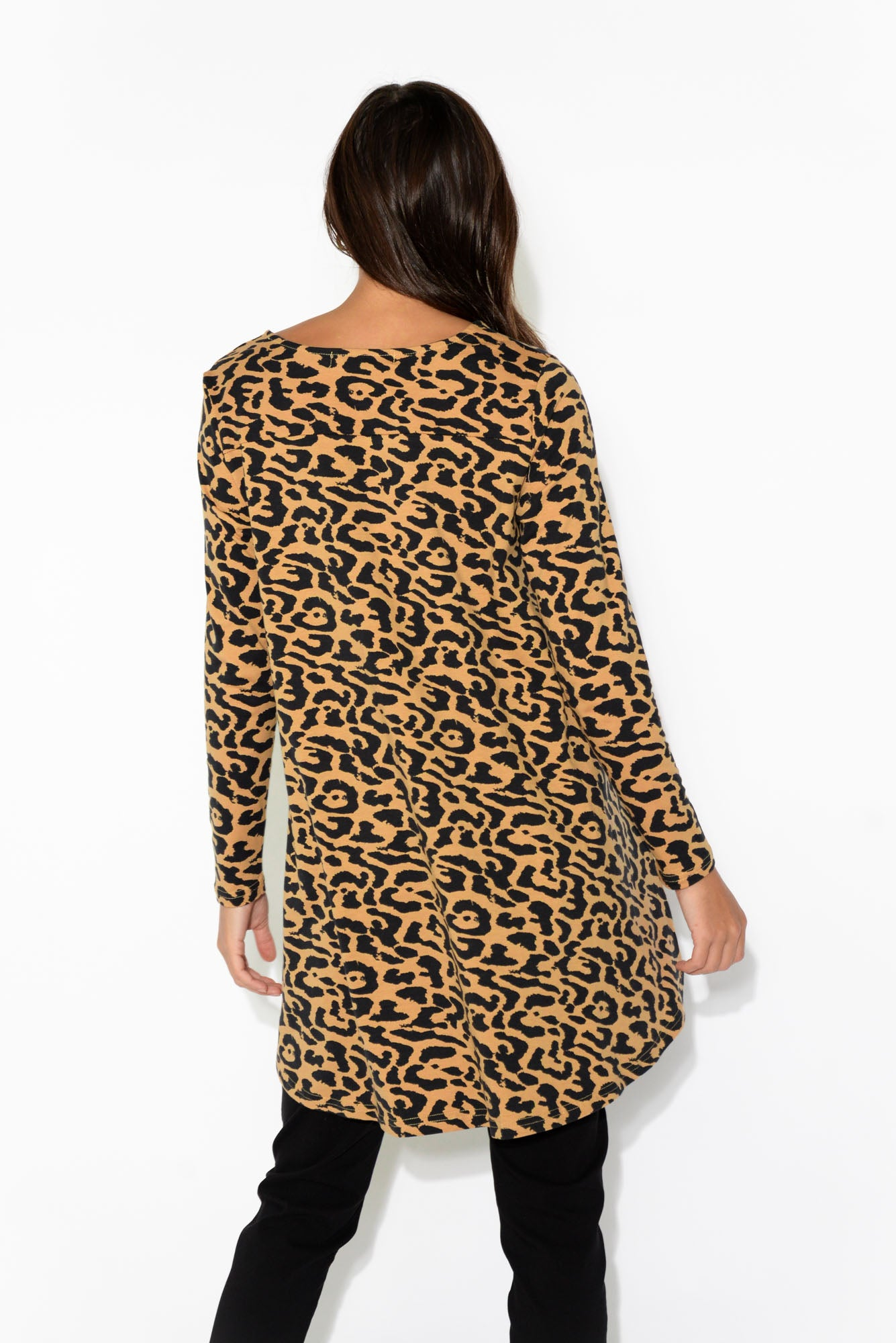 Leopard Long Sleeve Drop Back Tee