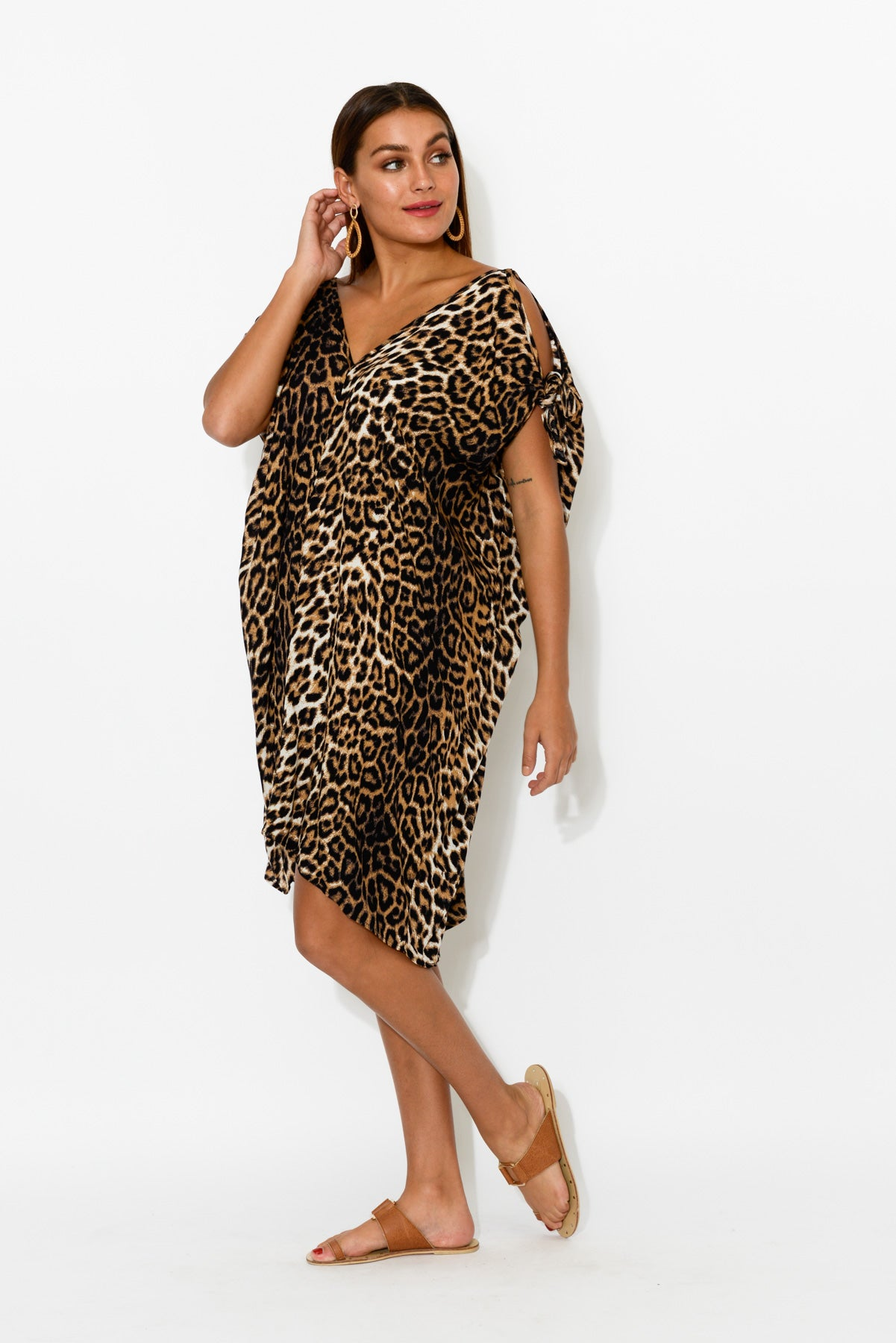 Leopard Cold Shoulder Kaftan Dress - Blue Bungalow
