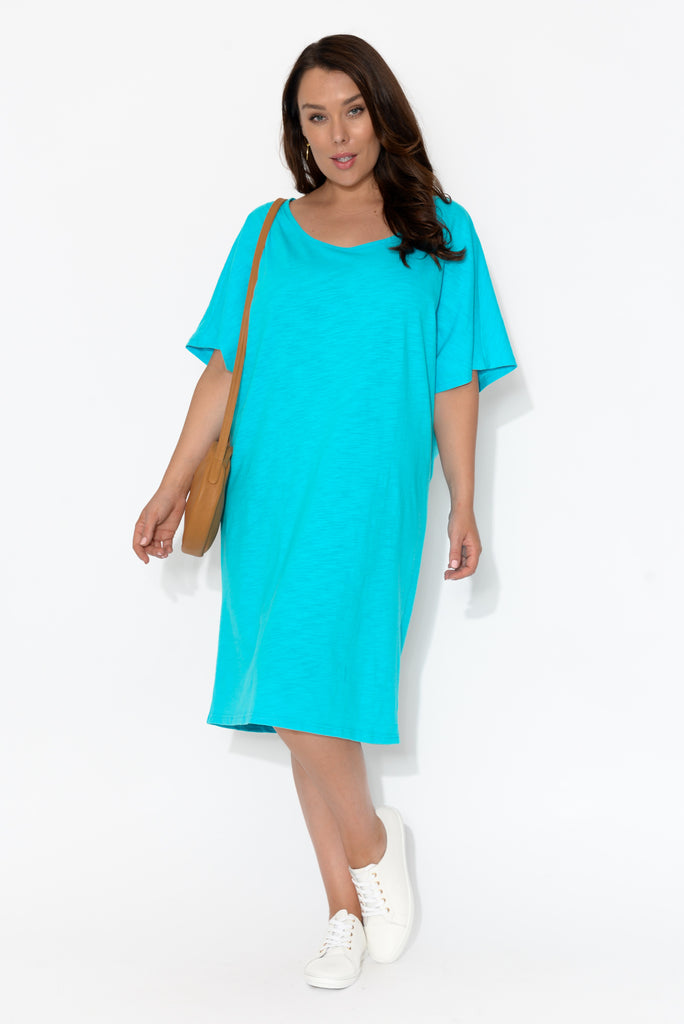 Lexi Blue Cotton Drape Tee Dress
