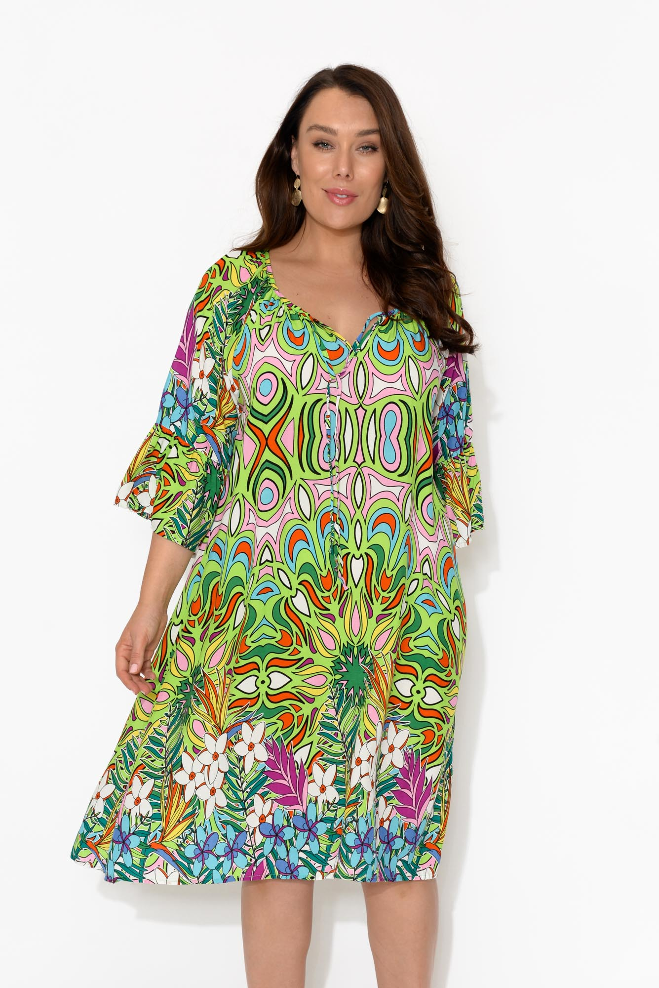 Lime Abstract Bell Sleeve Dress