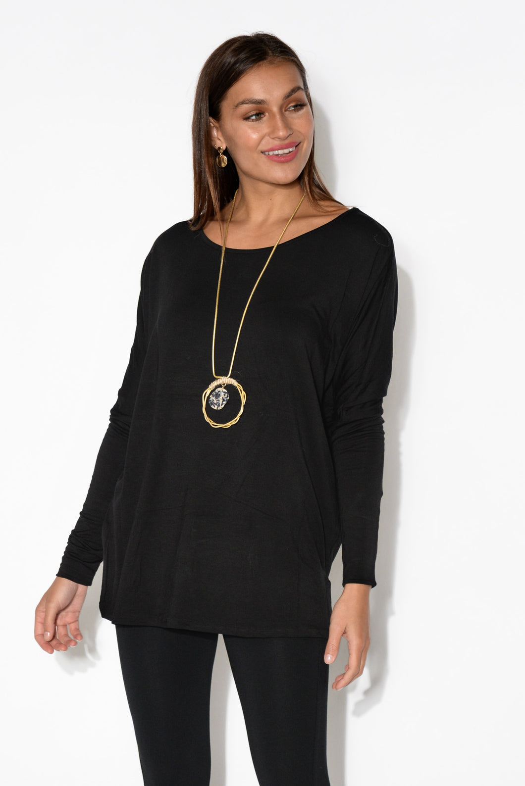Liv Black Sleeved Bamboo Top