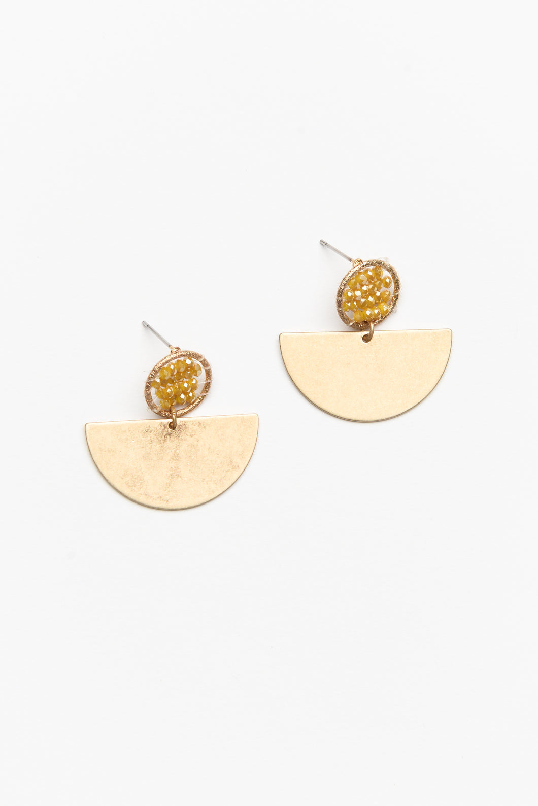 Logan Half Moon Mustard Beaded Earring