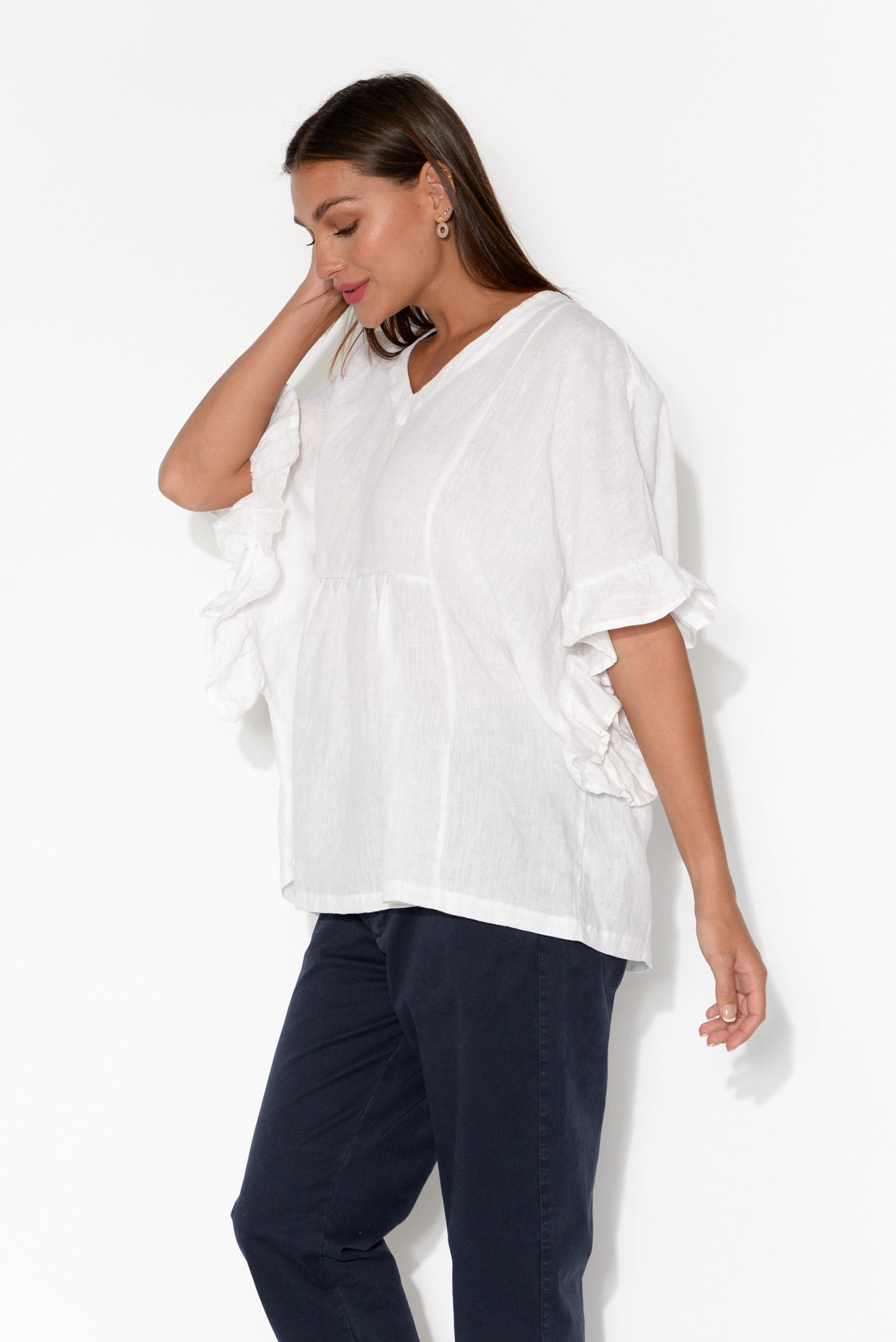 Lois White Linen Ruffle Top