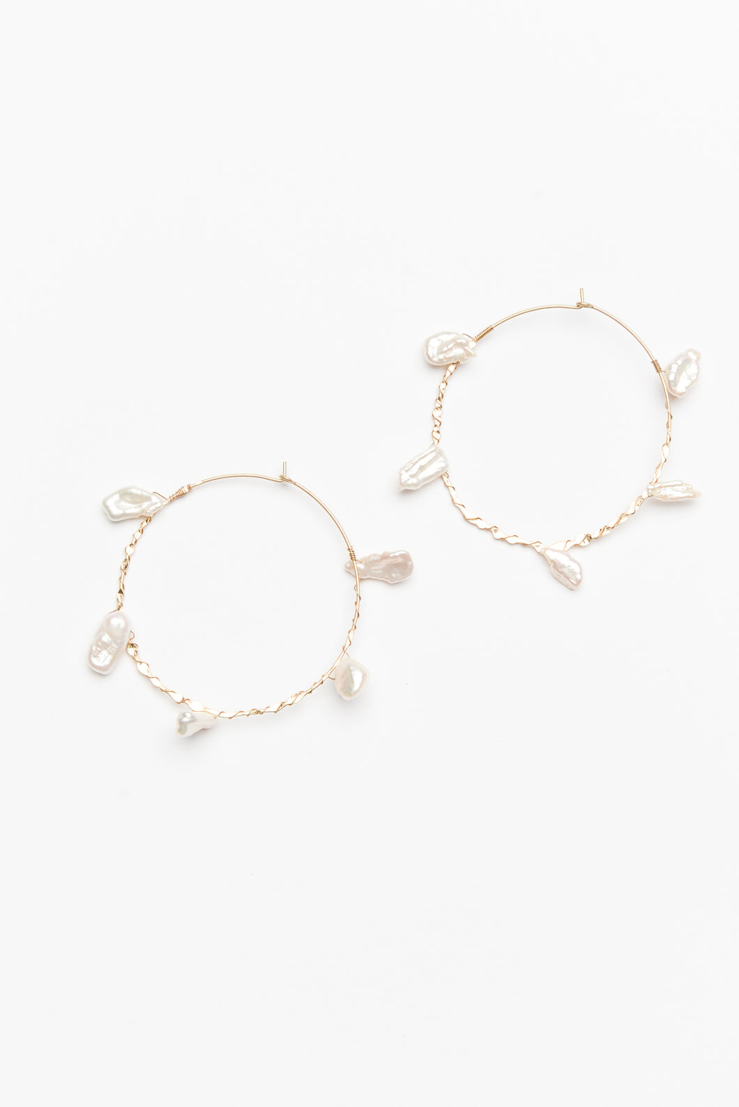 Lola Pearlescent Gold Hoop Earring