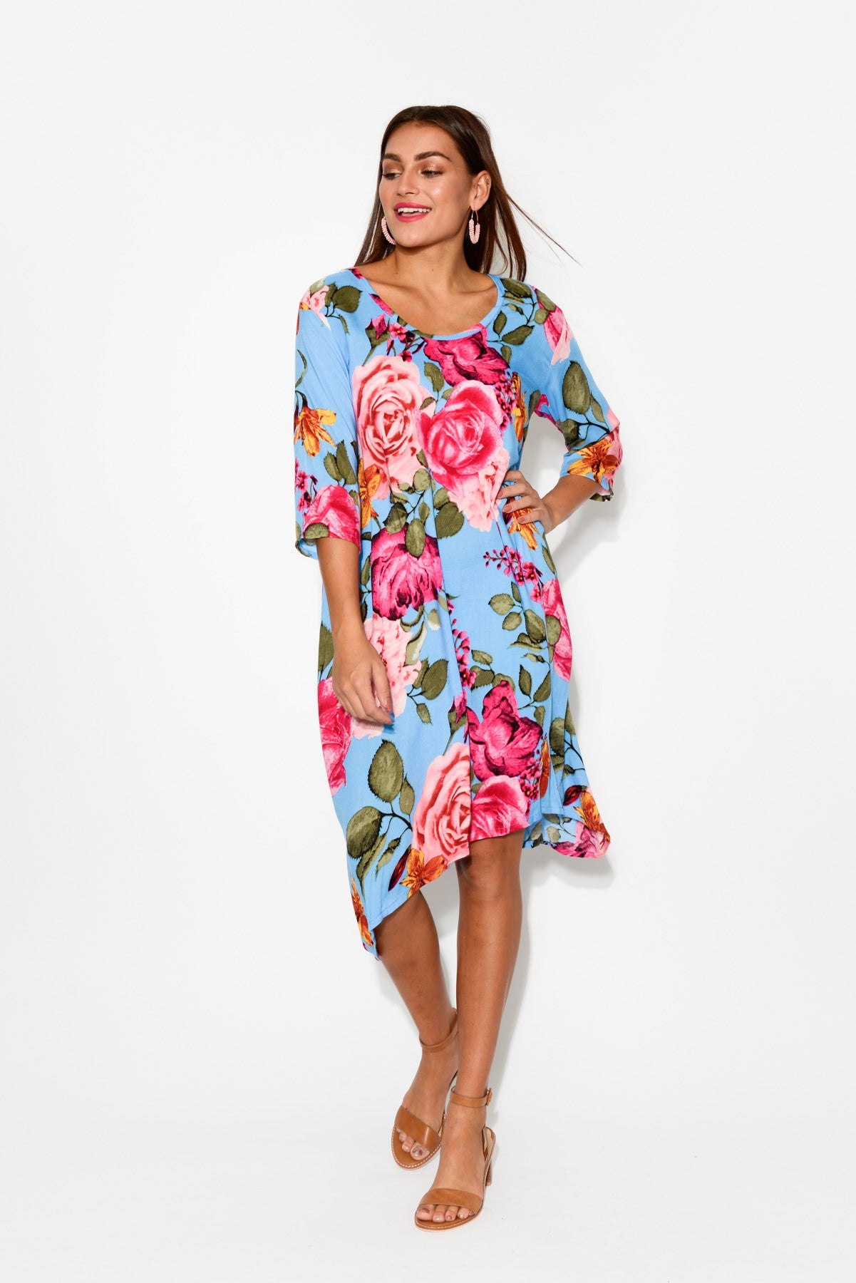 Lori Blue Rose A Line Dress - Blue Bungalow