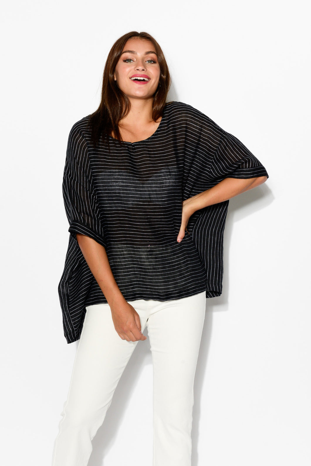 Lou Black Striped Linen Top - Blue Bungalow