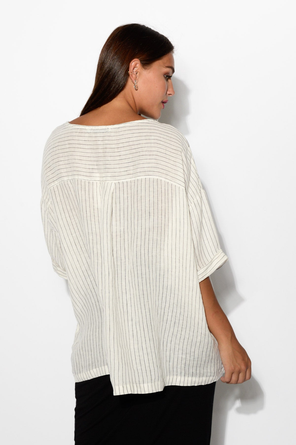 Lou White Striped Linen Top - Blue Bungalow