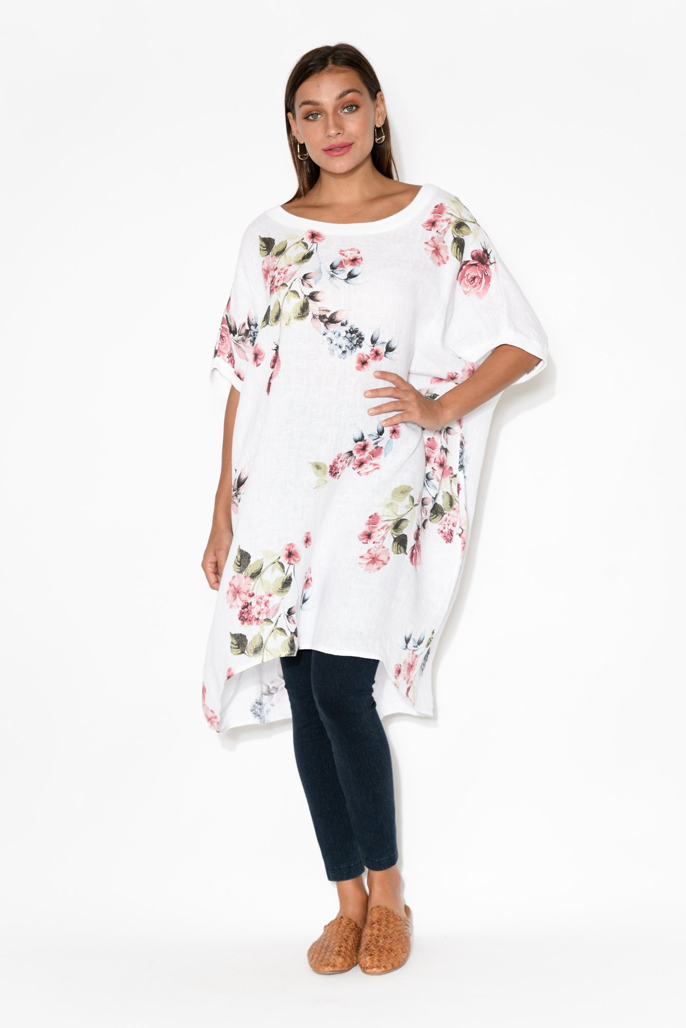 Lucca White Floral Linen Dress
