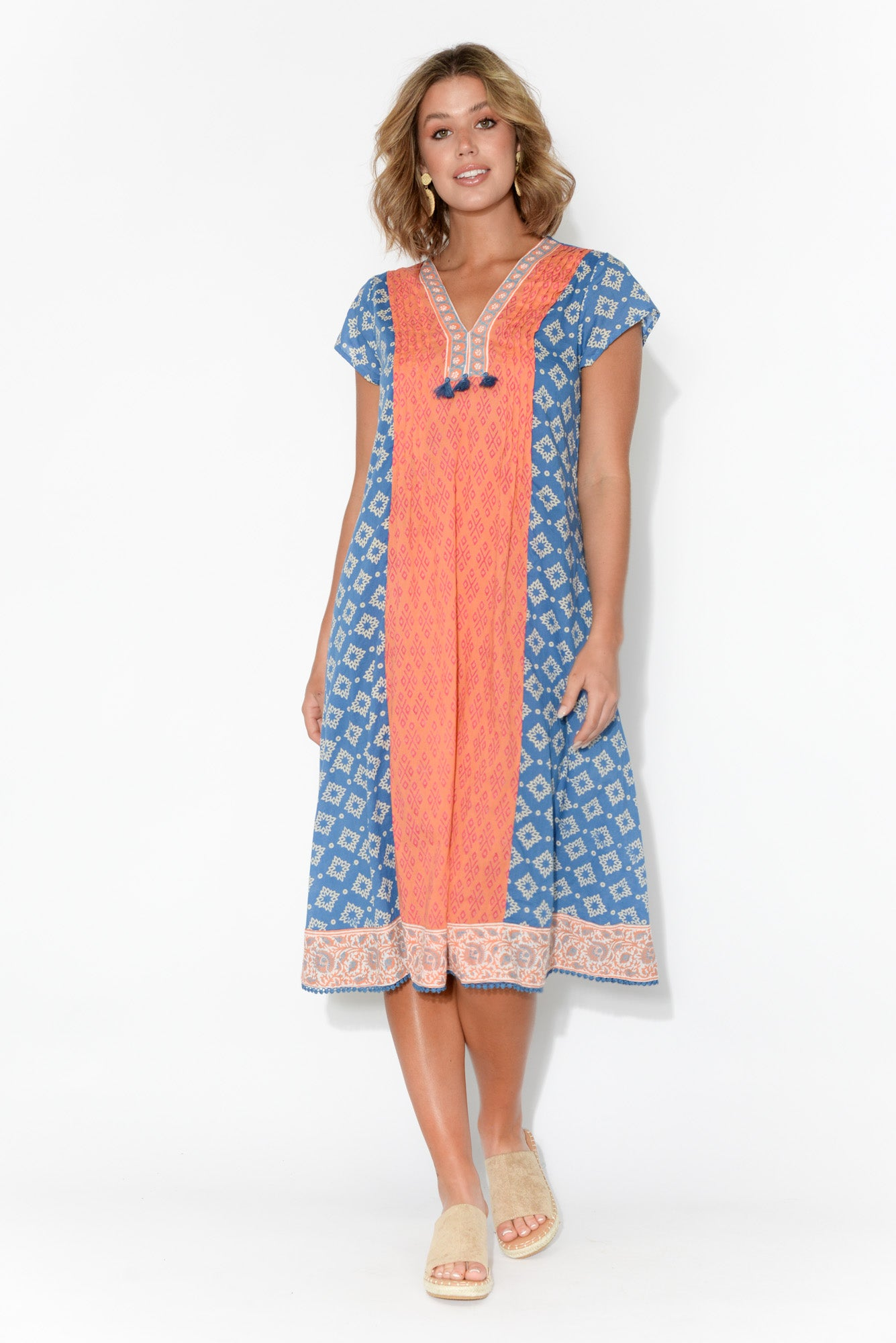 Lucia Orange Panel Cap Sleeve Dress