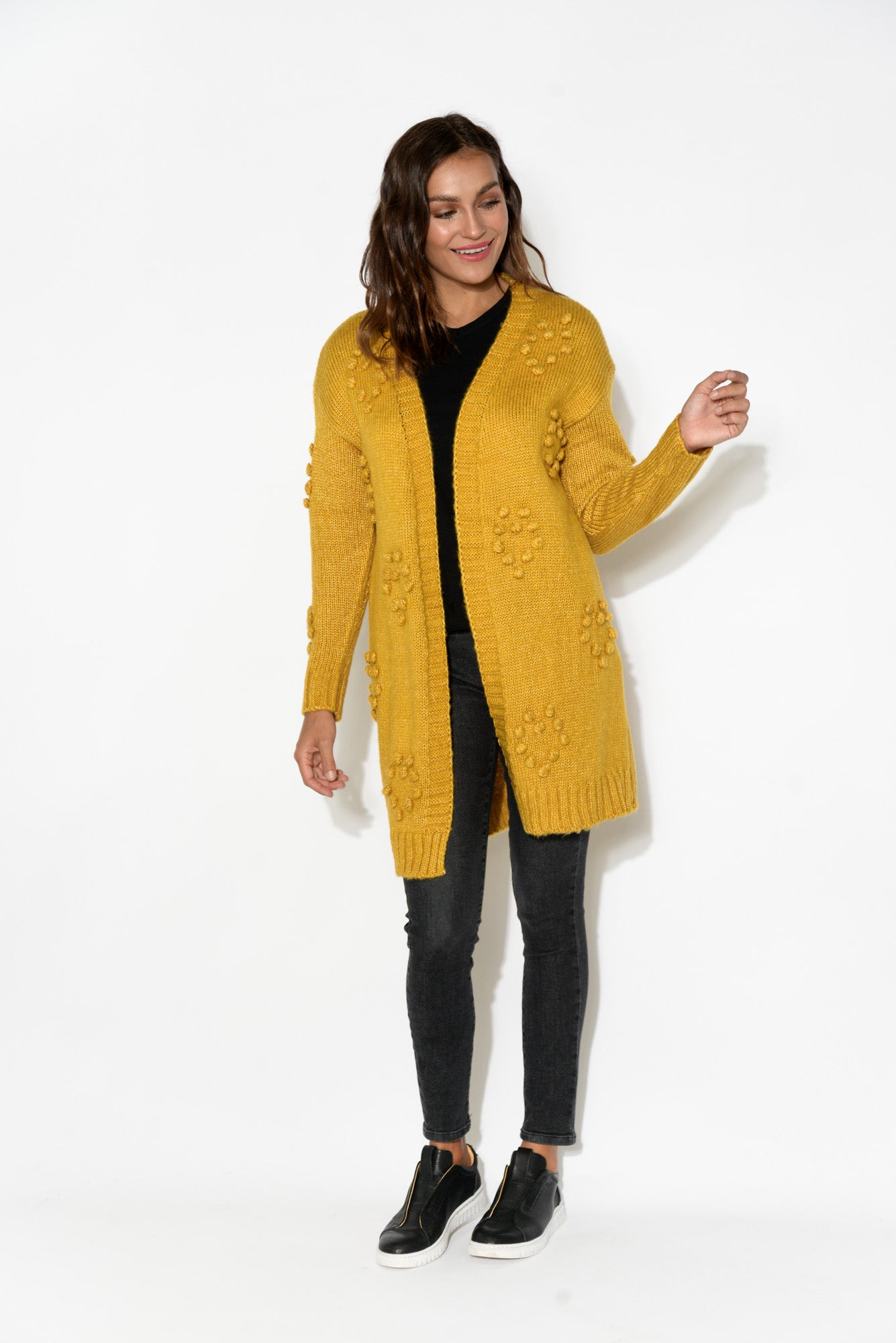 Lucy Mustard Bobble Knit Cardigan