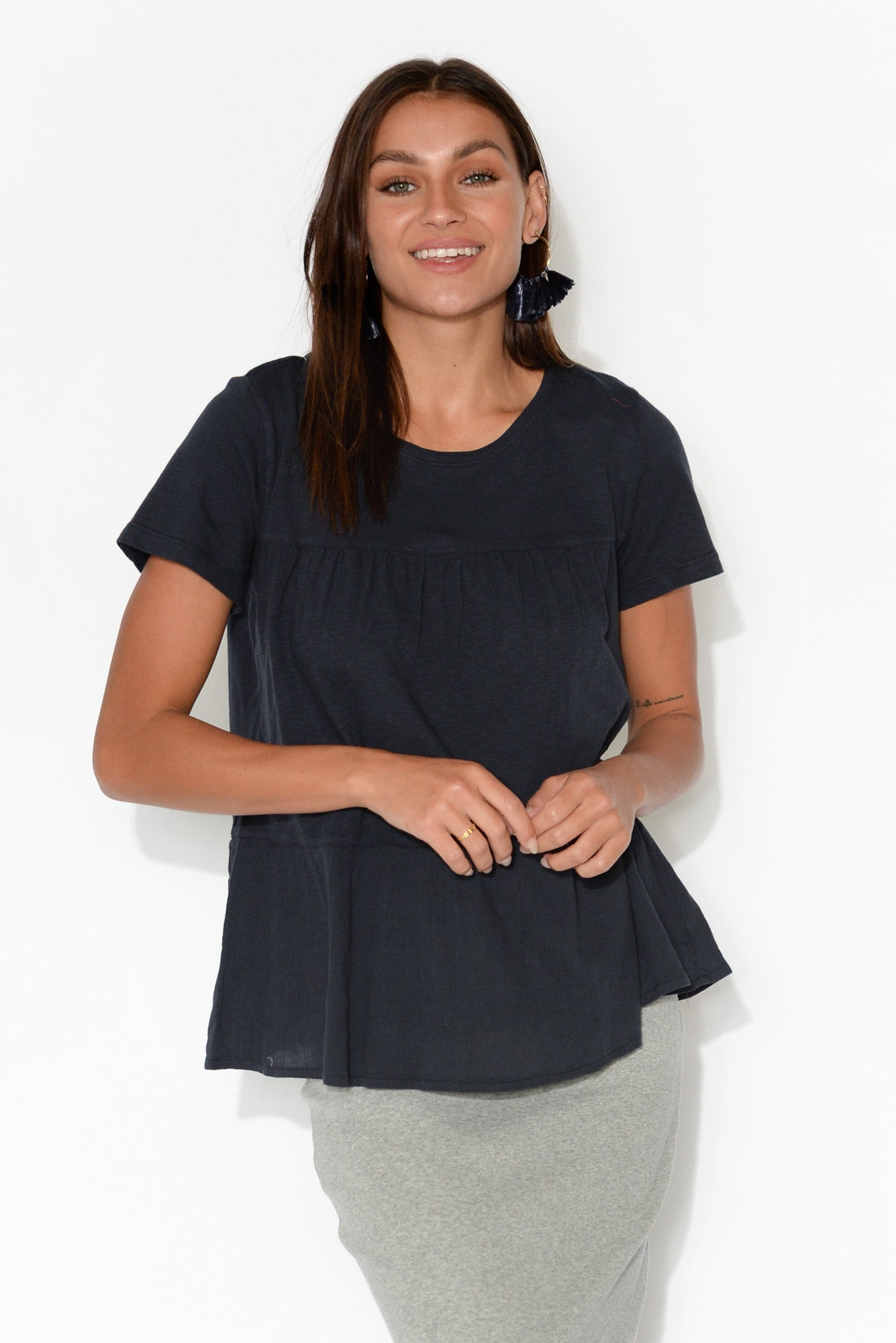 Lulu Navy Cotton Frill Top