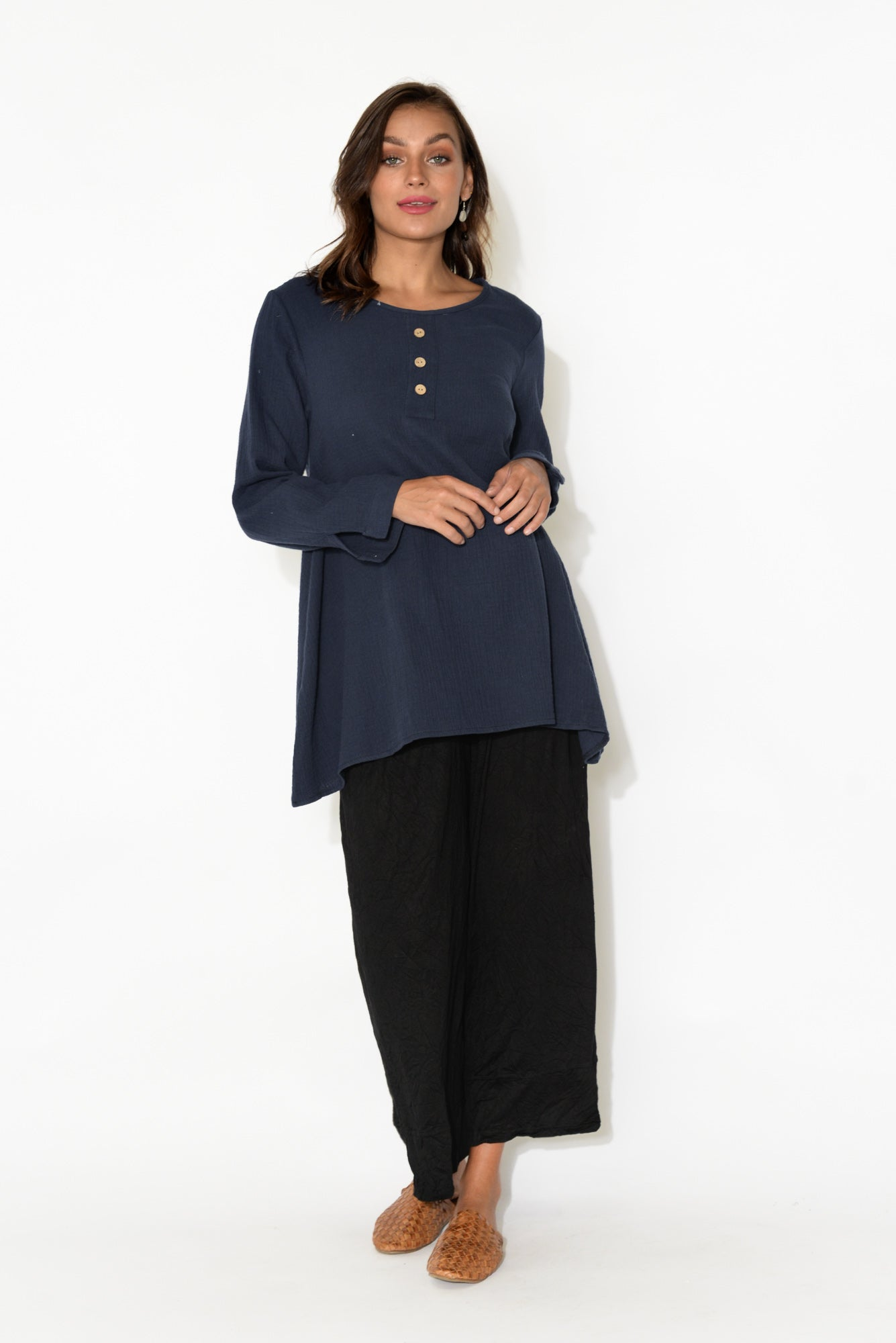 Lydia Navy Textured Cotton Tunic
