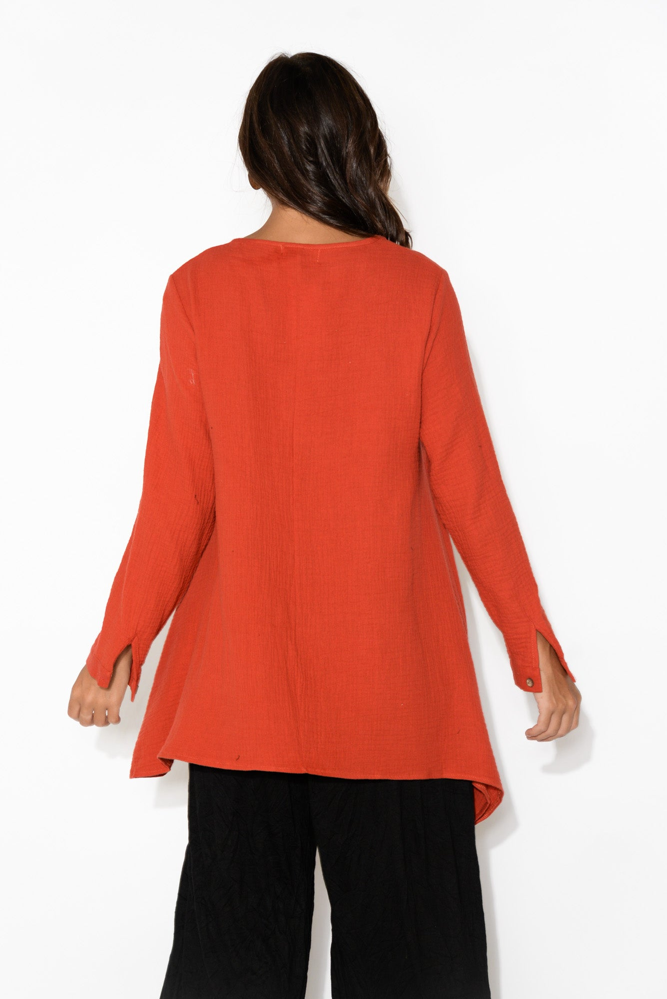 Lydia Red Textured Cotton Tunic