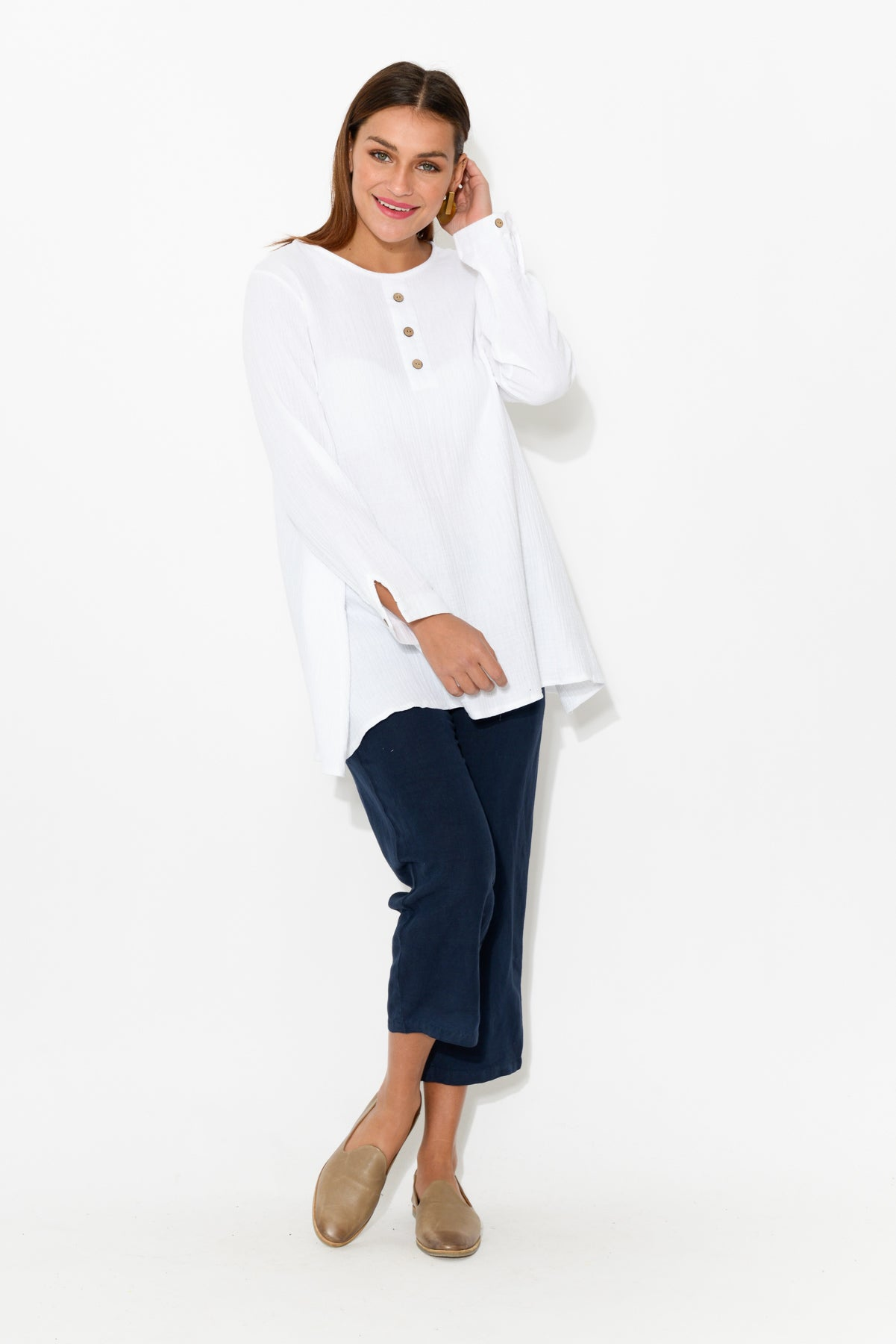 Lydia White Crinkle Cotton Tunic - Blue Bungalow