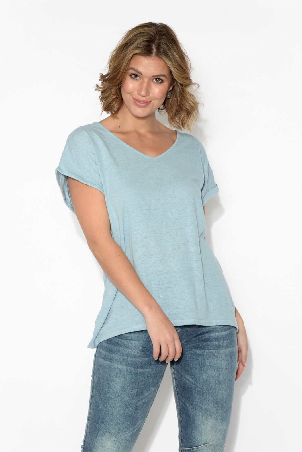 Lynette Blue Linen Cotton Tee