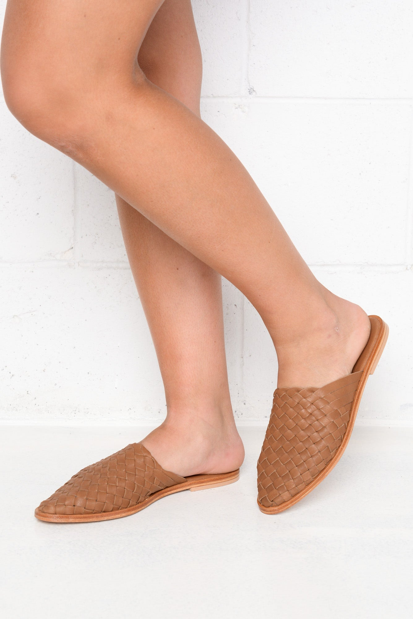 Luella Tan Leather Woven Mule