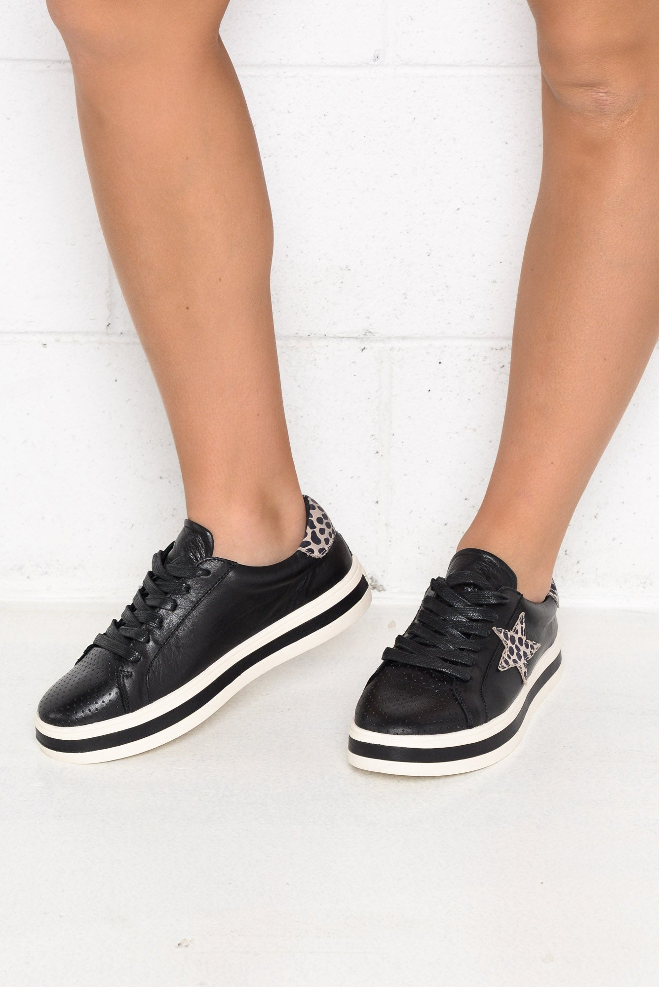 Pixie Star Black Leather Sneaker