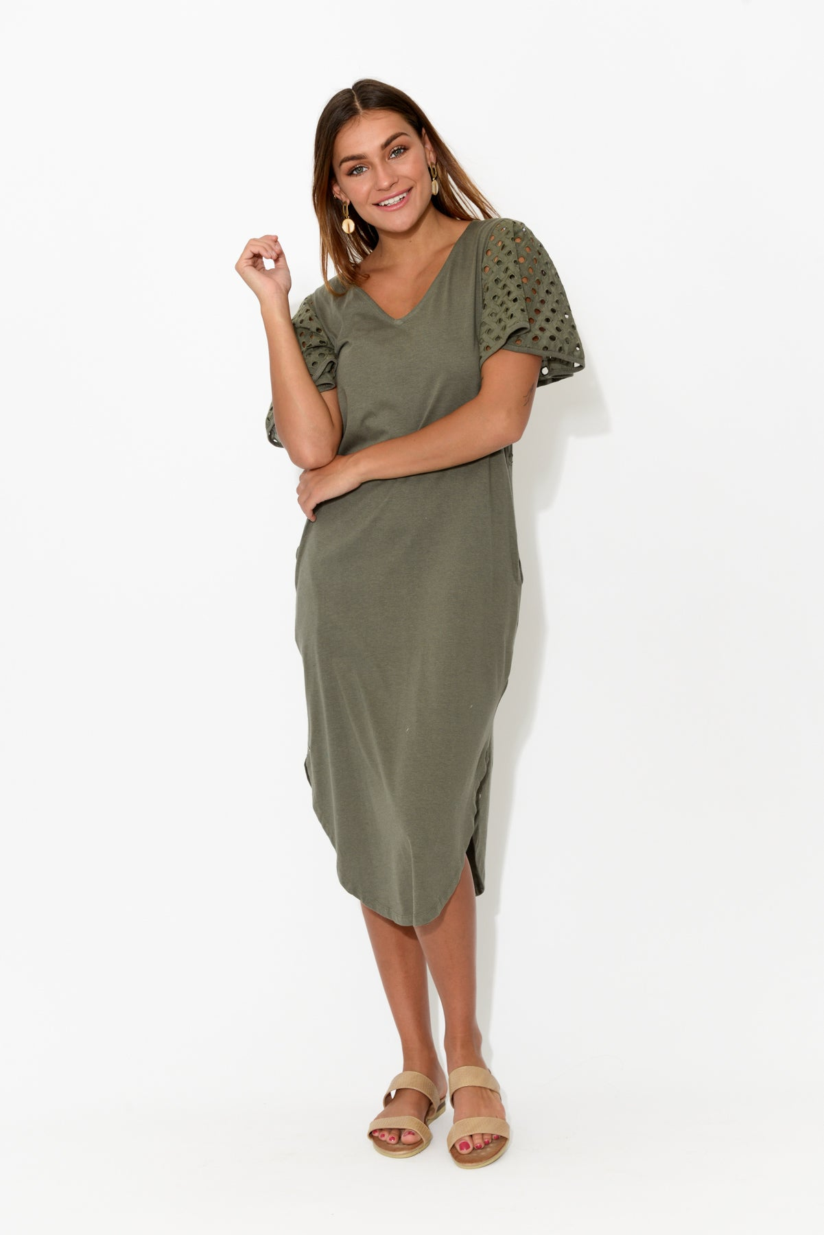 Maeve Khaki Ruffle Sleeve Dress