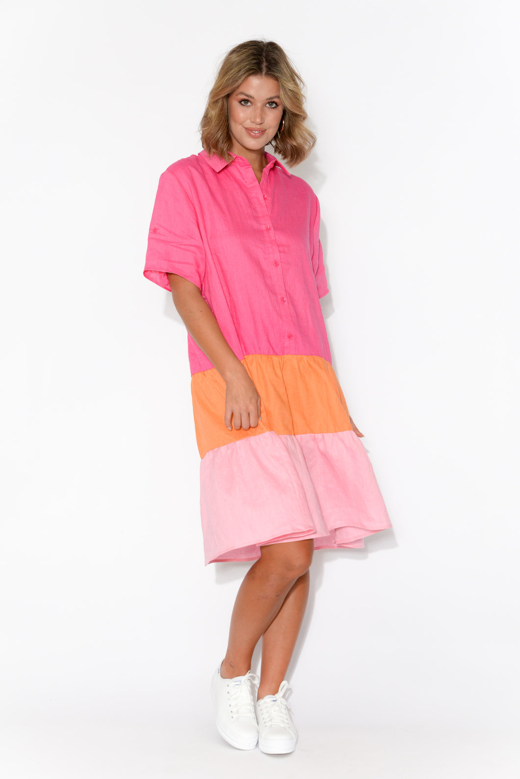 Maggie Hot Pink Linen Panel Shirt Dress