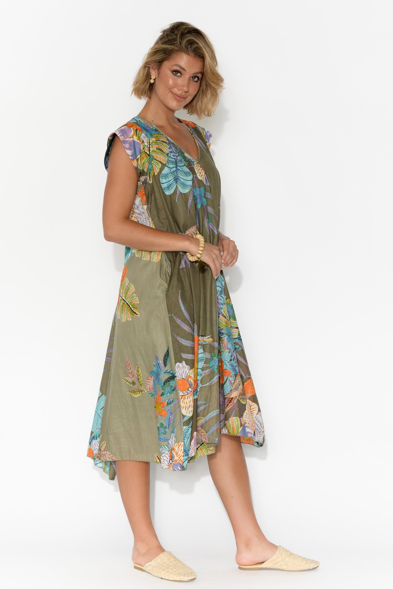 Maheno Khaki Floral Cotton Dress
