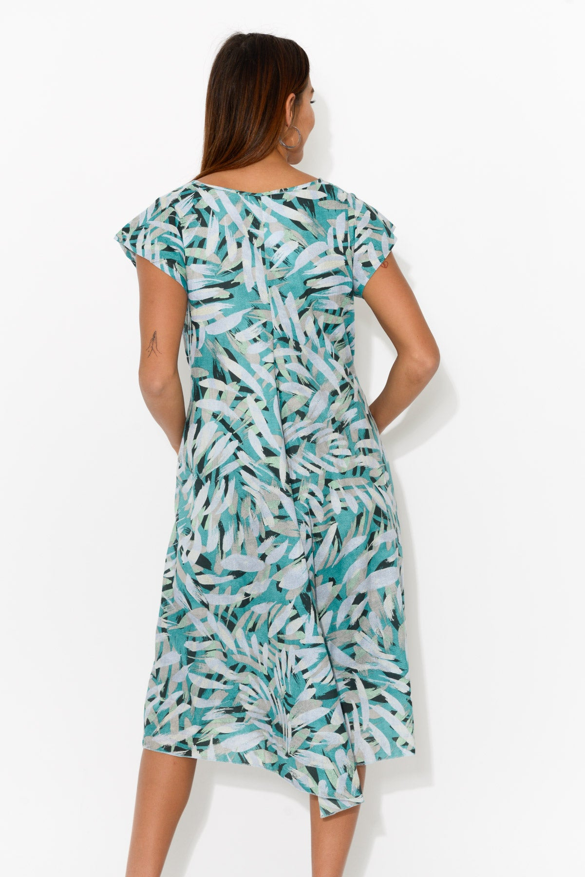 Maheno Aqua Palm Cotton Dress - Blue Bungalow