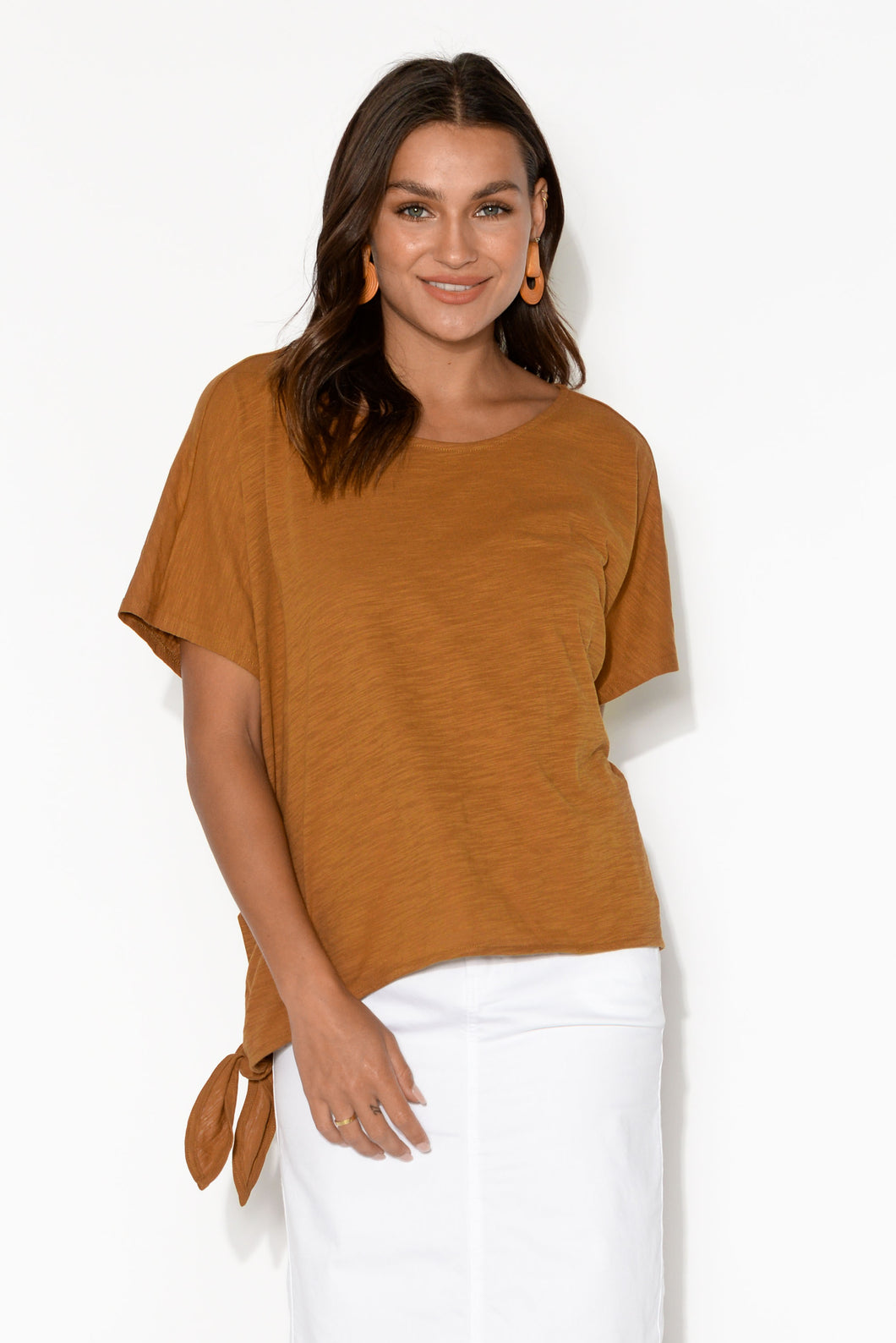 Majorca Rust Side Tie Cotton Tee