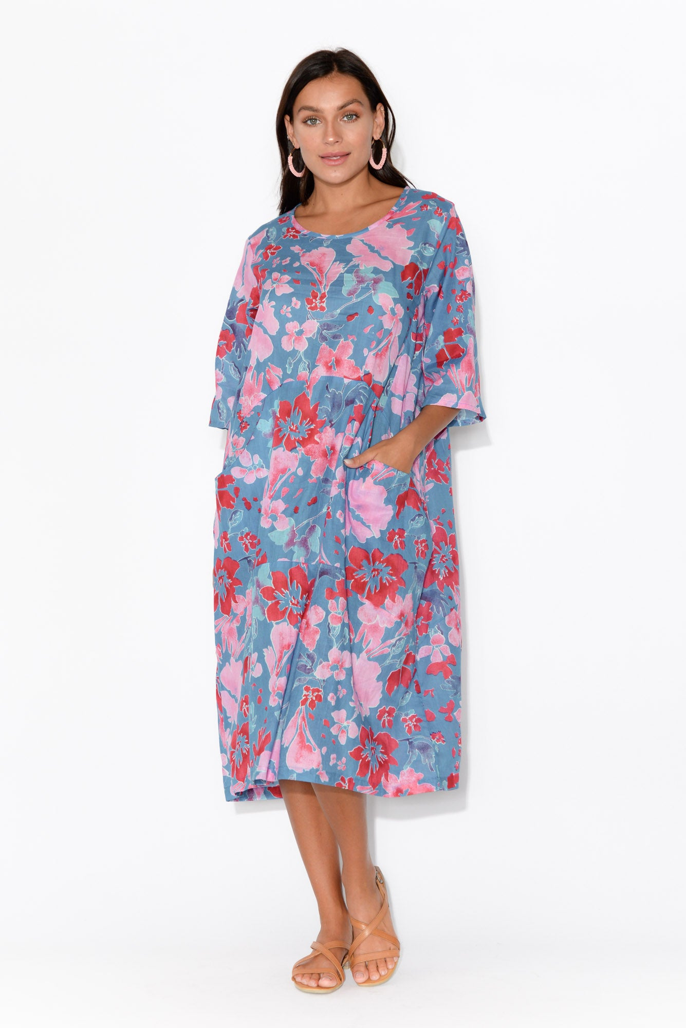 Maleny Blue Floral Cotton Dress