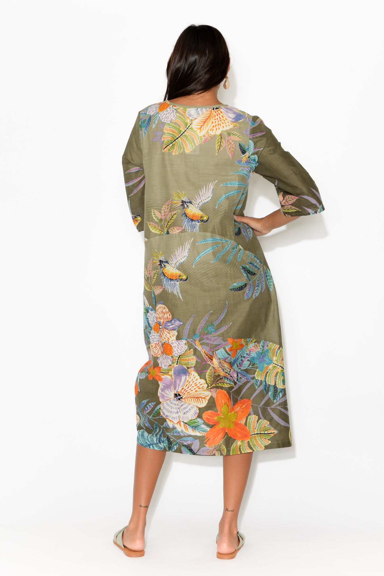 Maleny Khaki Floral Cotton Dress