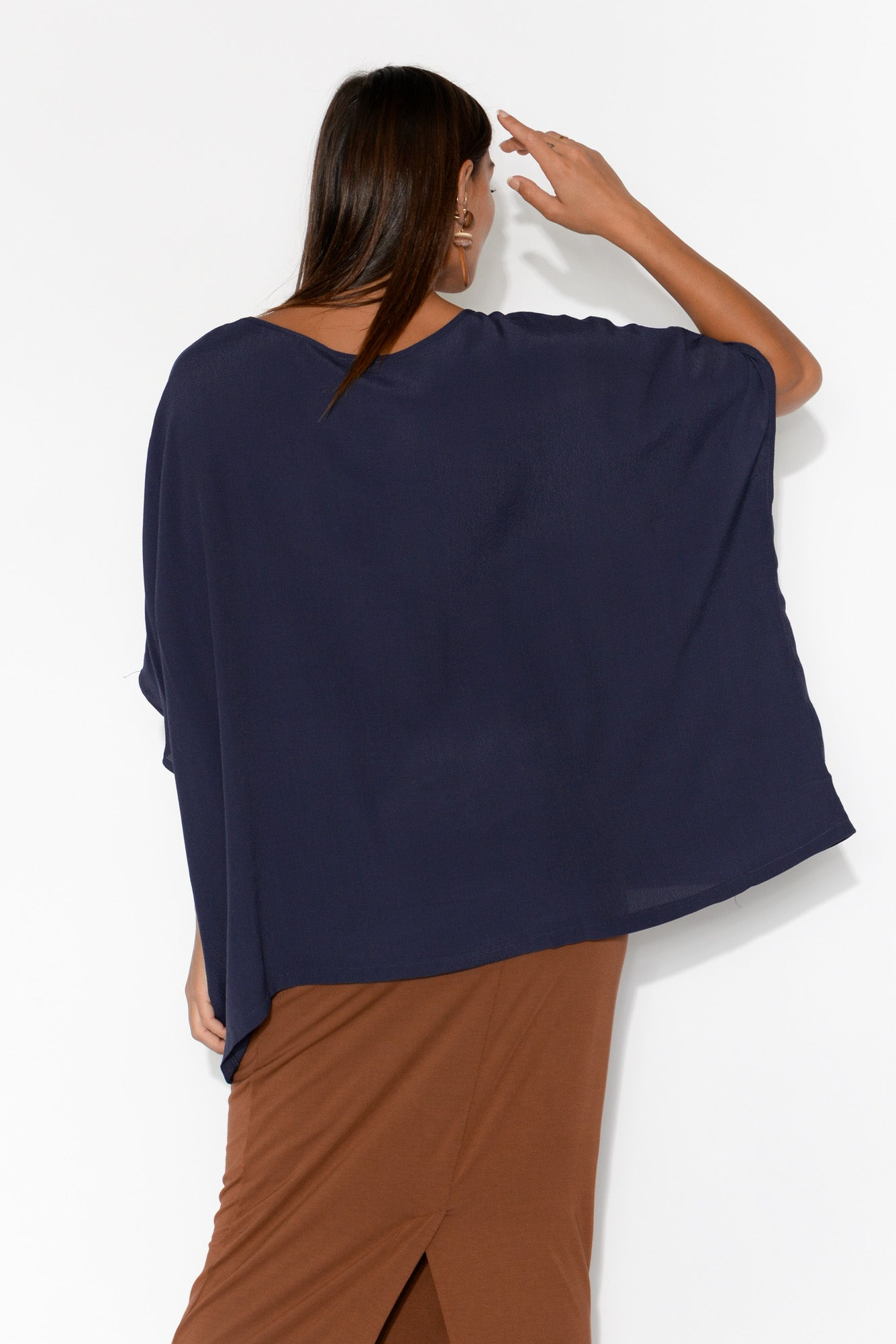 Mali Navy Drape Top